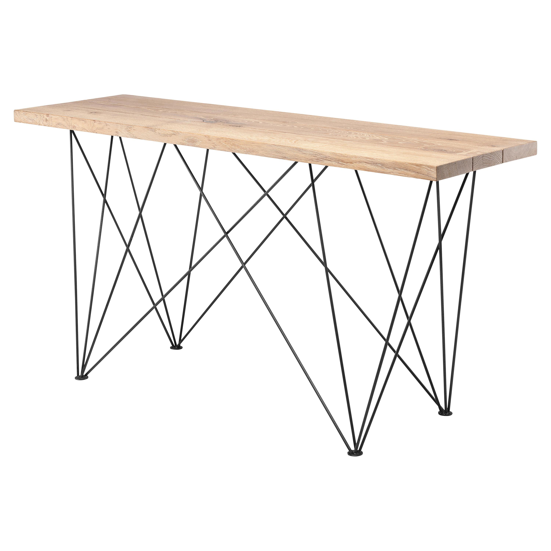 Bentley Industrial Raw Oak Stainless Steel Leg Console Table