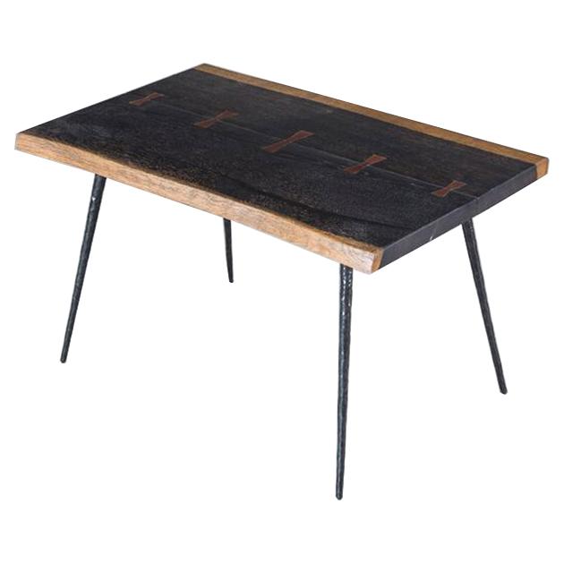 Clare Rustic Lodge Cast Iron Honey Oak End Table