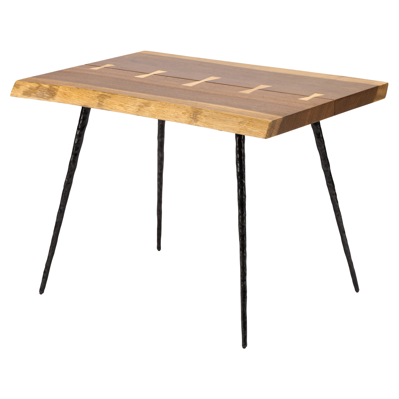 Clare Rustic Lodge Cast Iron Burnt Oak End Table
