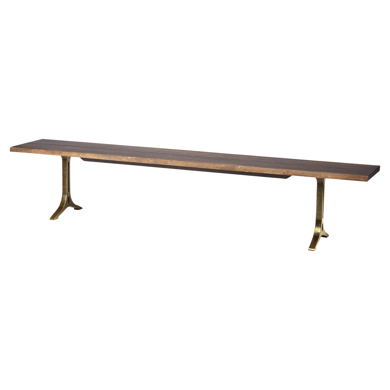 Amity Industrial Loft Dark Oak Bronze Dining Bench - 88.25W