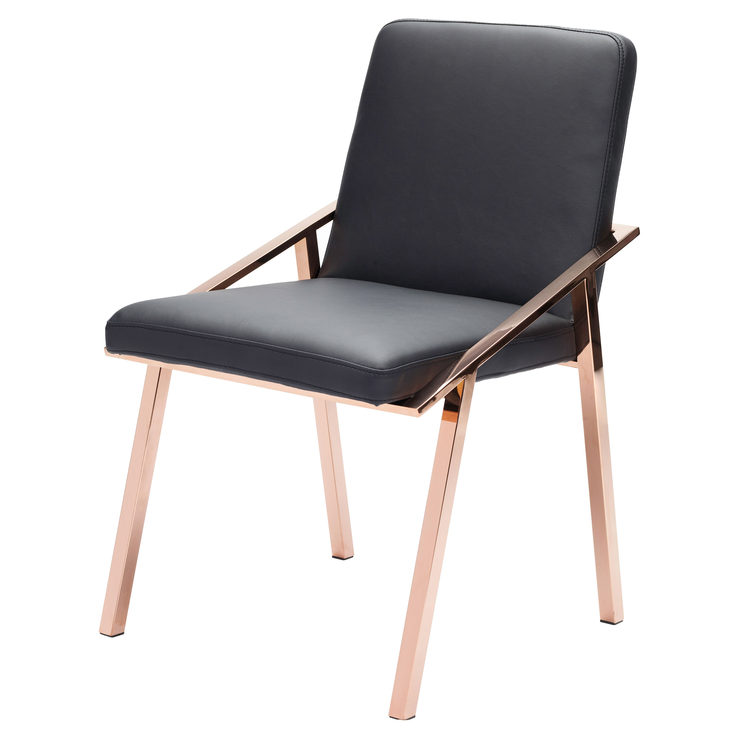 Zoey Modern Black Rose Gold Arm Dining Chair