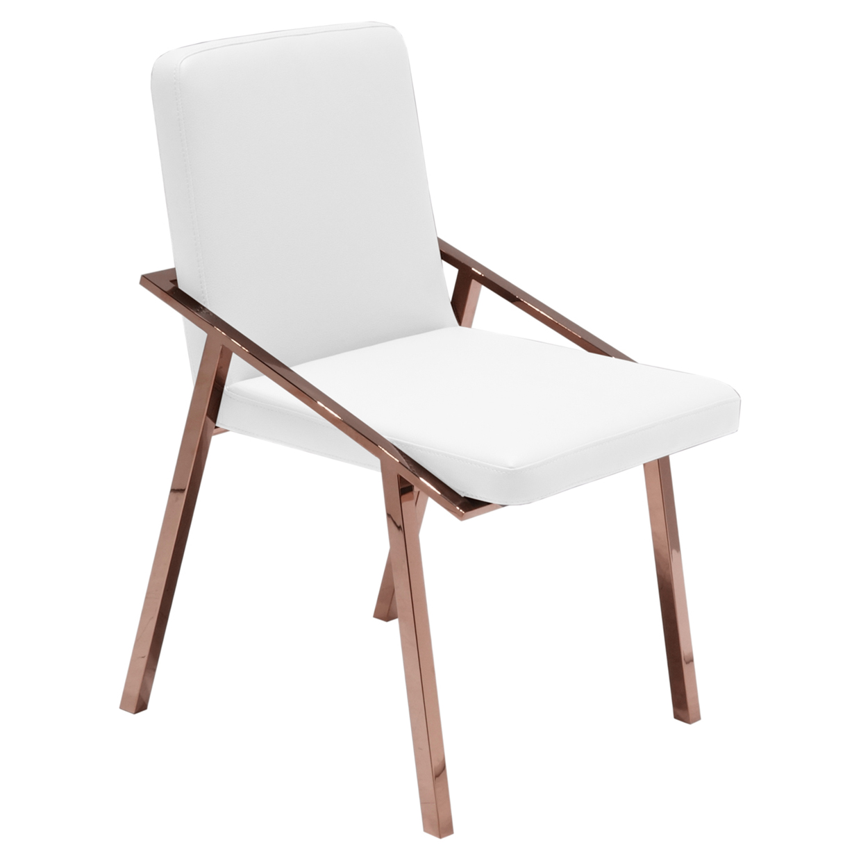 Zoey Modern White Rose Gold Arm Dining Chair