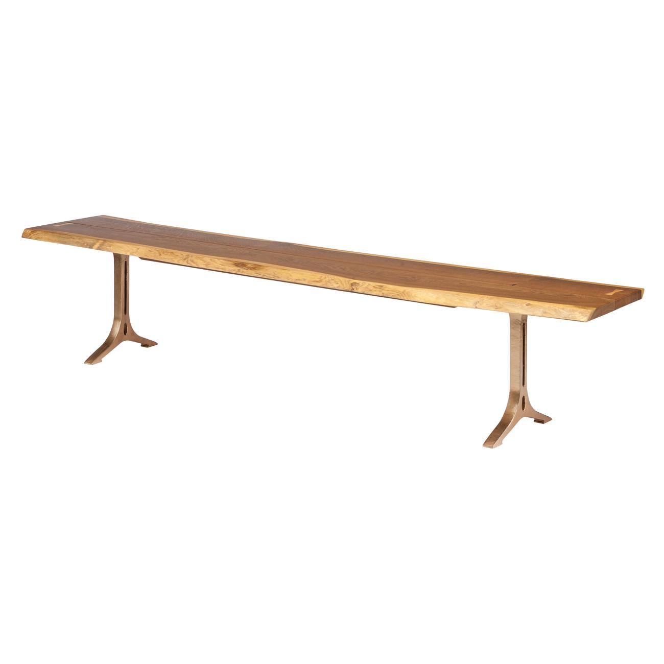 Amity Industrial Loft Honey Oak Bronze Dining Bench - 88.25W