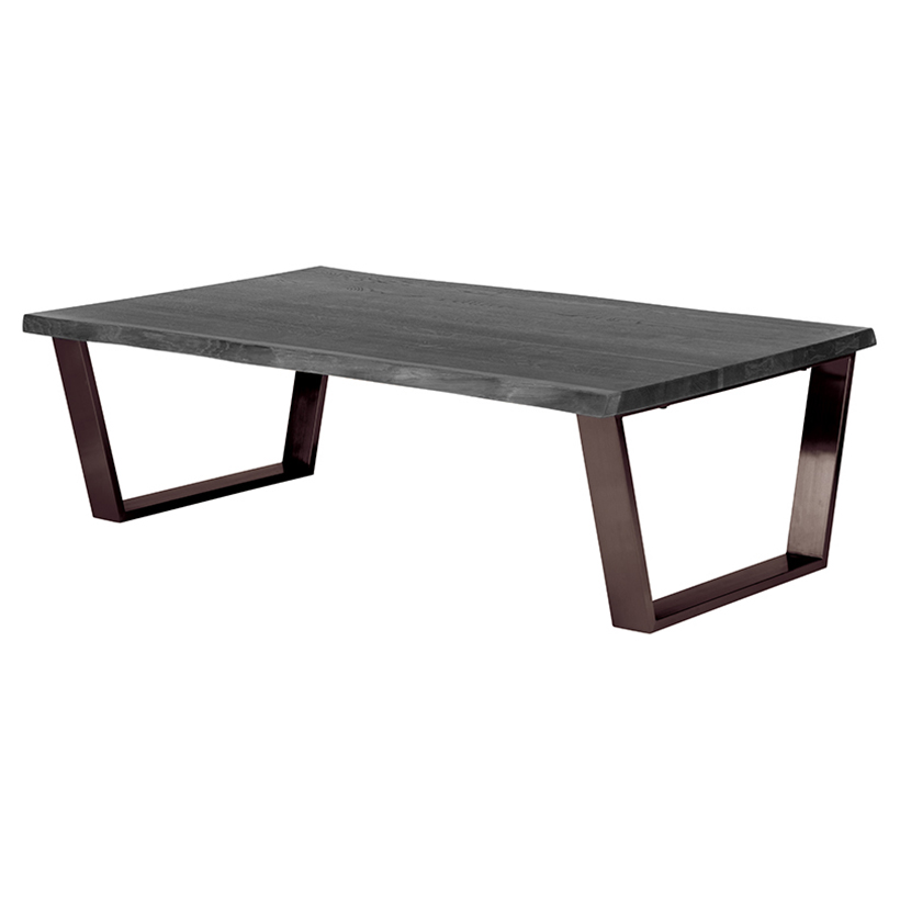 Cogsworth Industrial Grey Oak Black Coffee Table