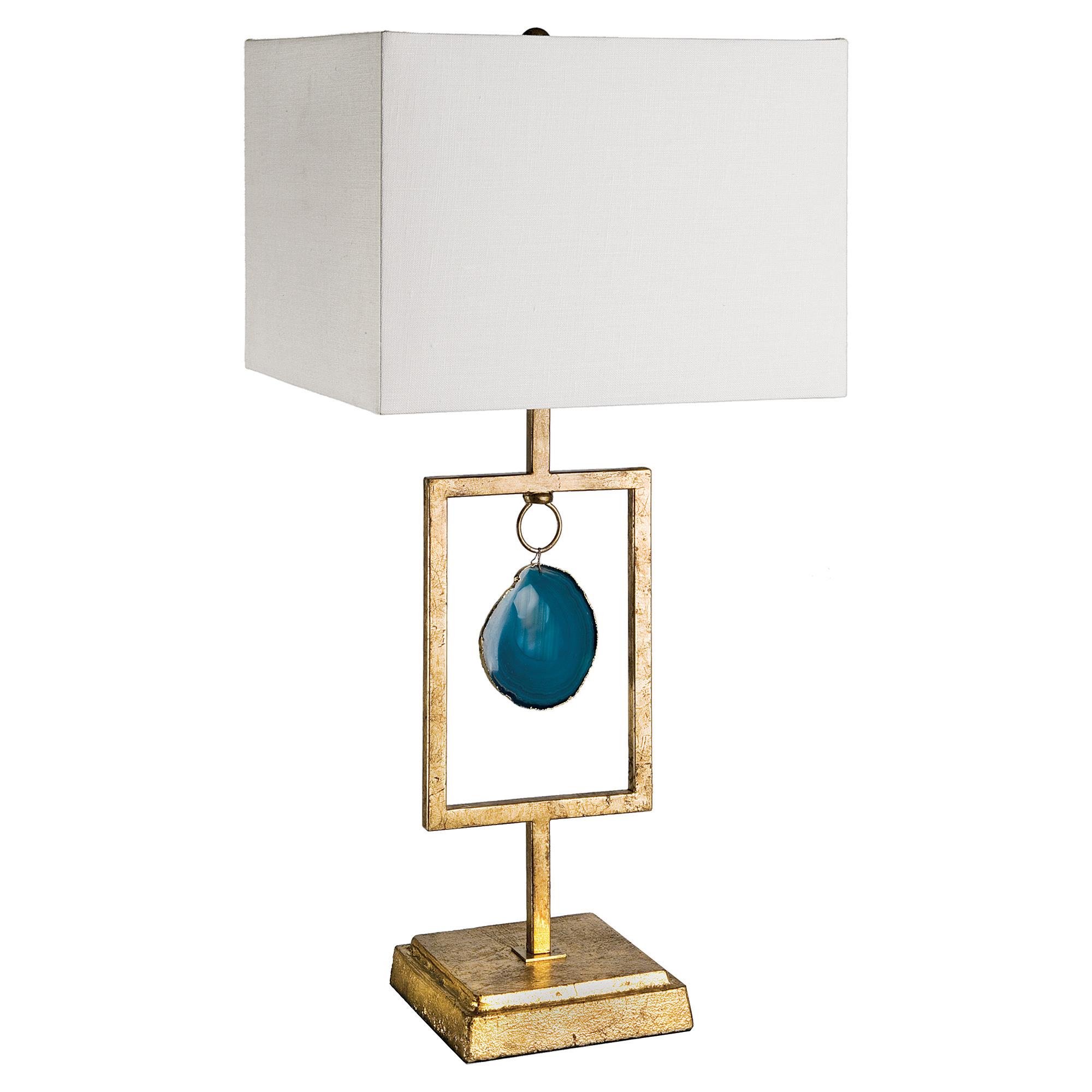 Alegra Global Bazaar Antique Gold Teal Agate Lamp
