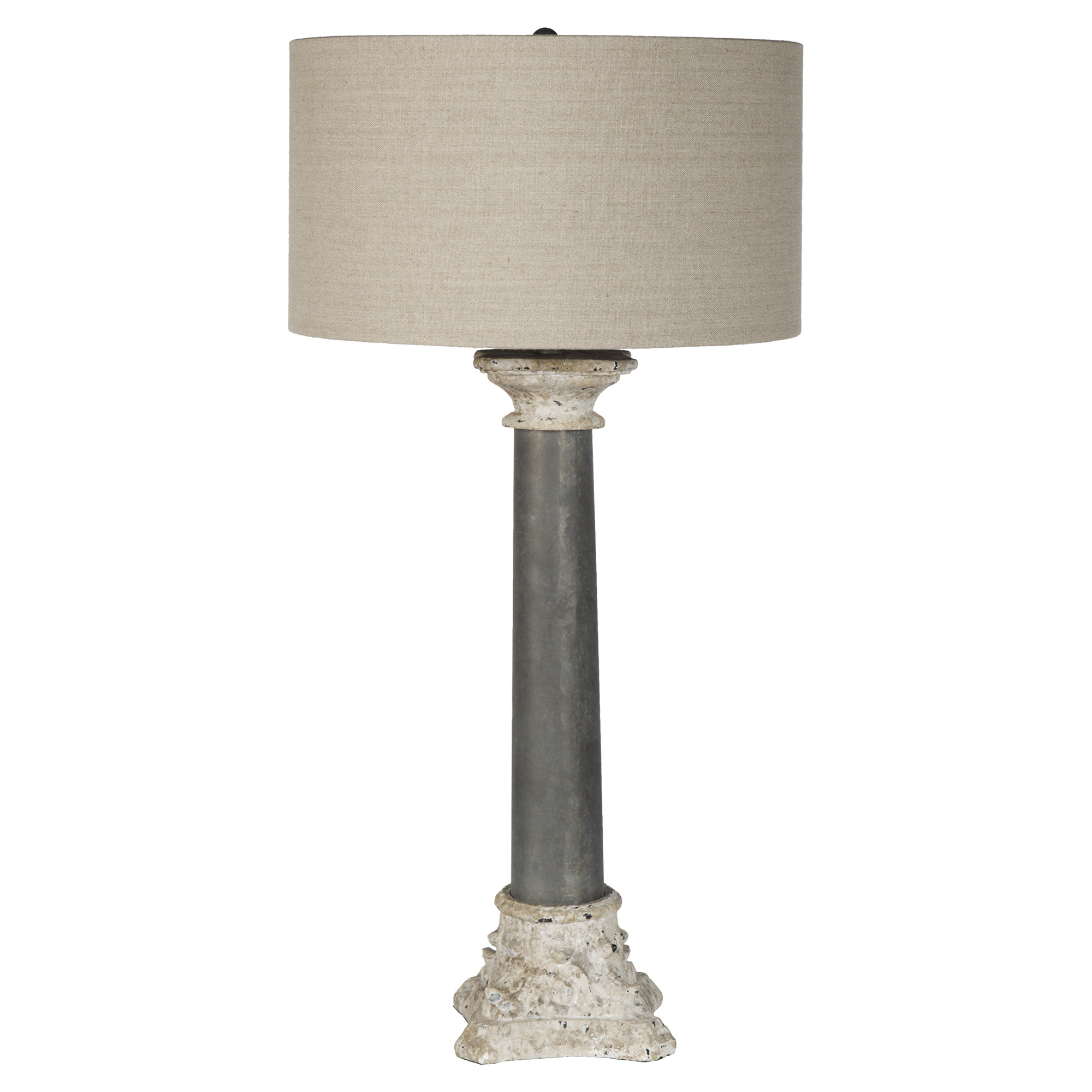 Zincourt French Country Rustic Architect Column Table Lamp