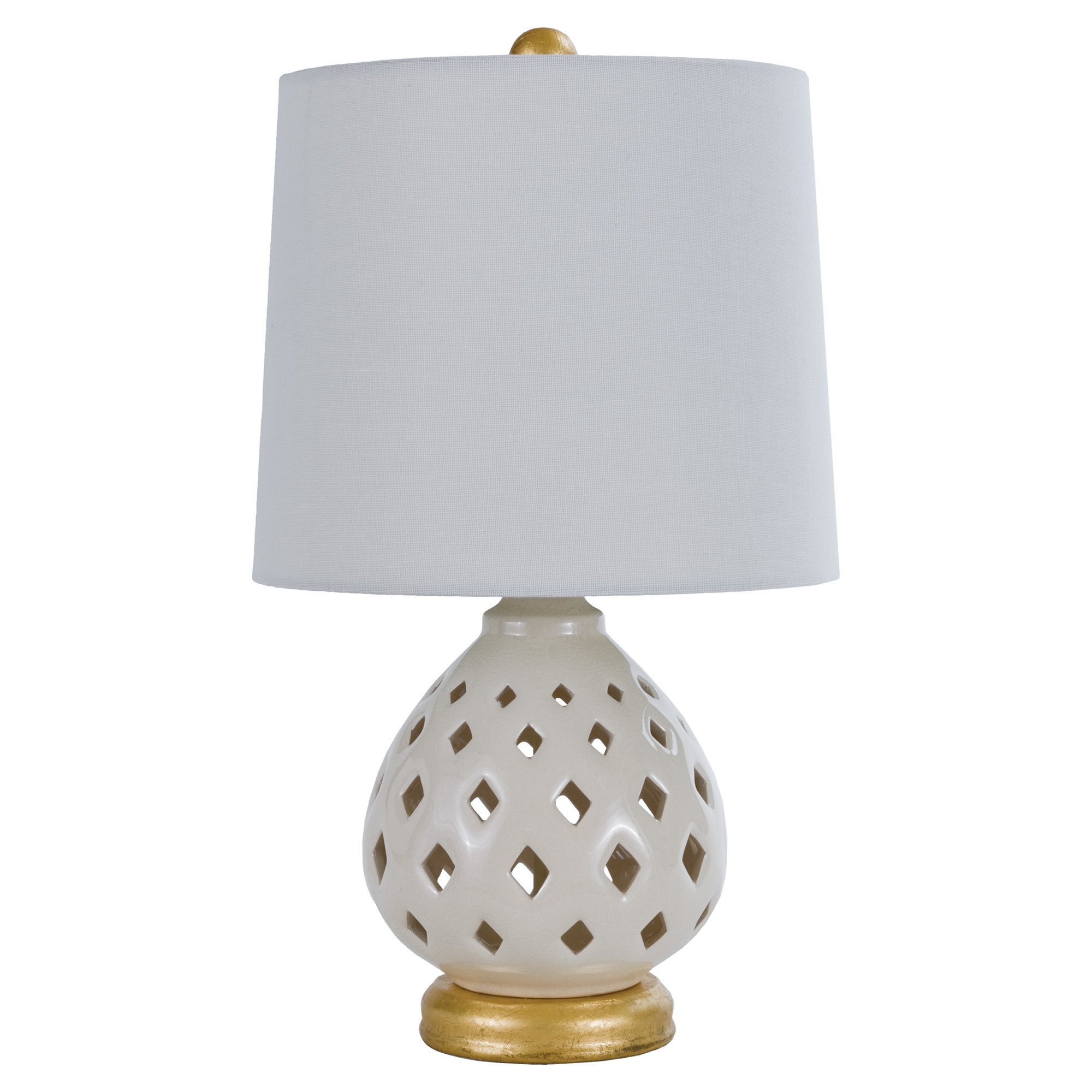 Vijay Global Bazaar Ivory Gold Cut Drop Table Lamp