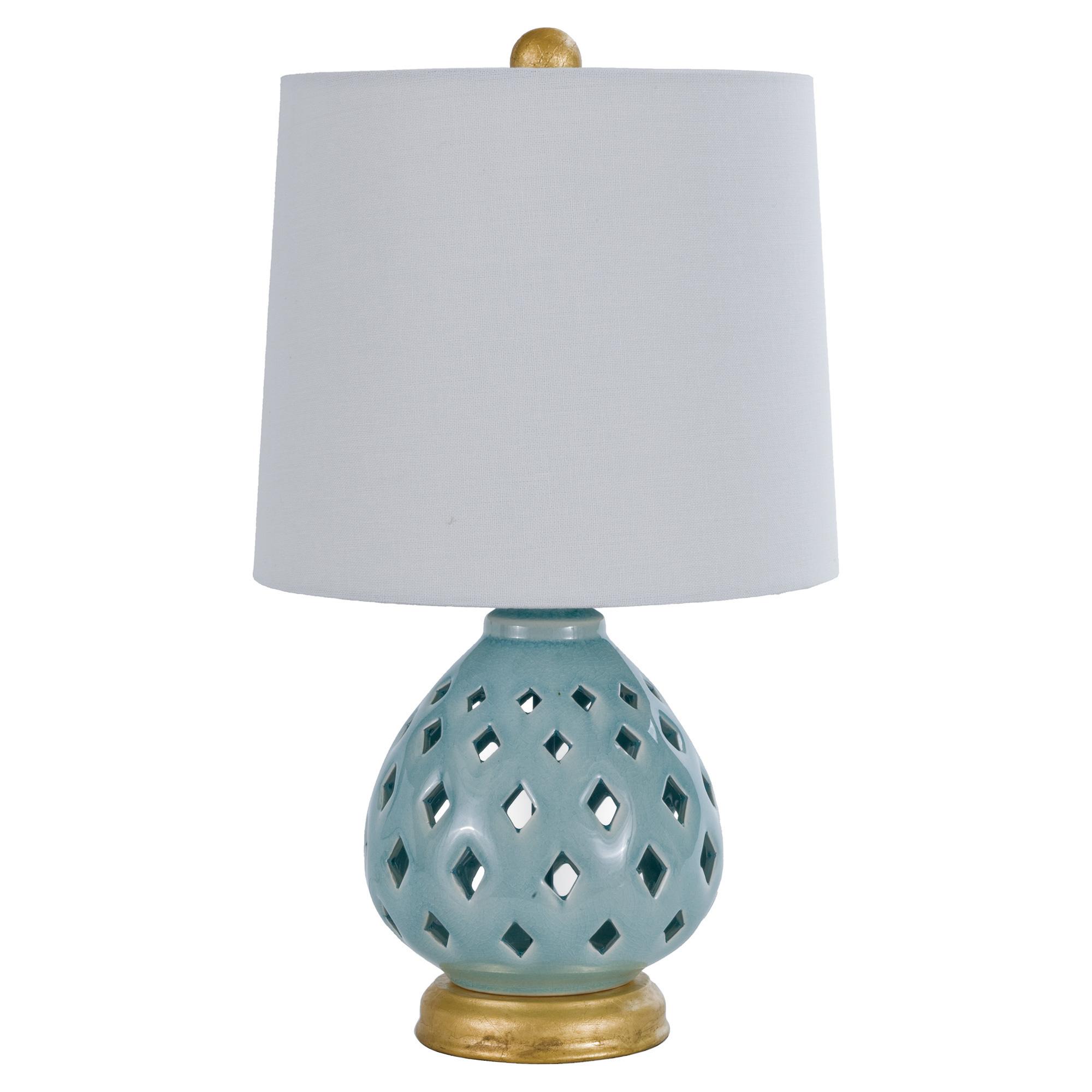 Vijay Global Bazaar Teal Gold Cut Drop Table Lamp