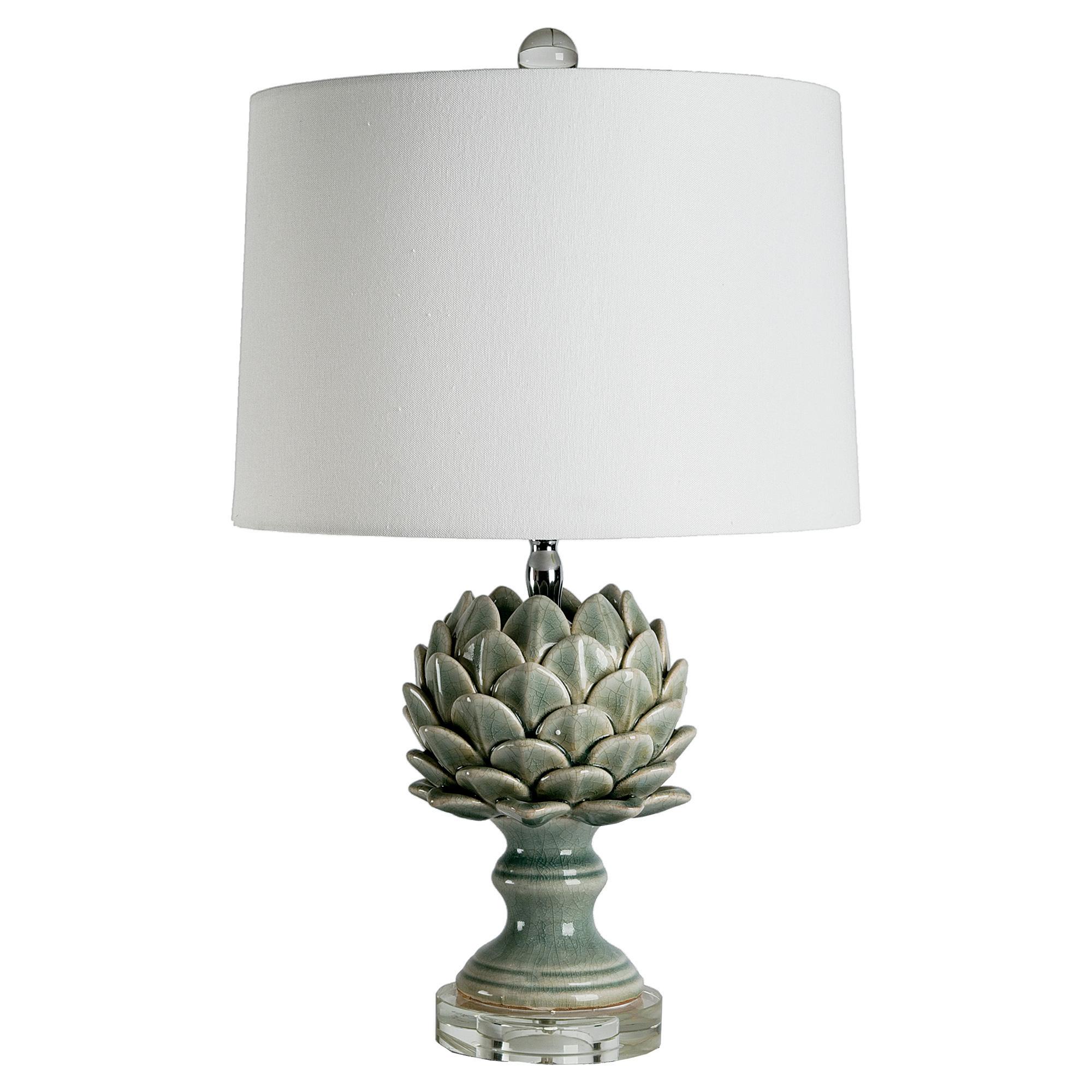 Fiesole Global Modern Green Leaf Artichoke Table Lamp