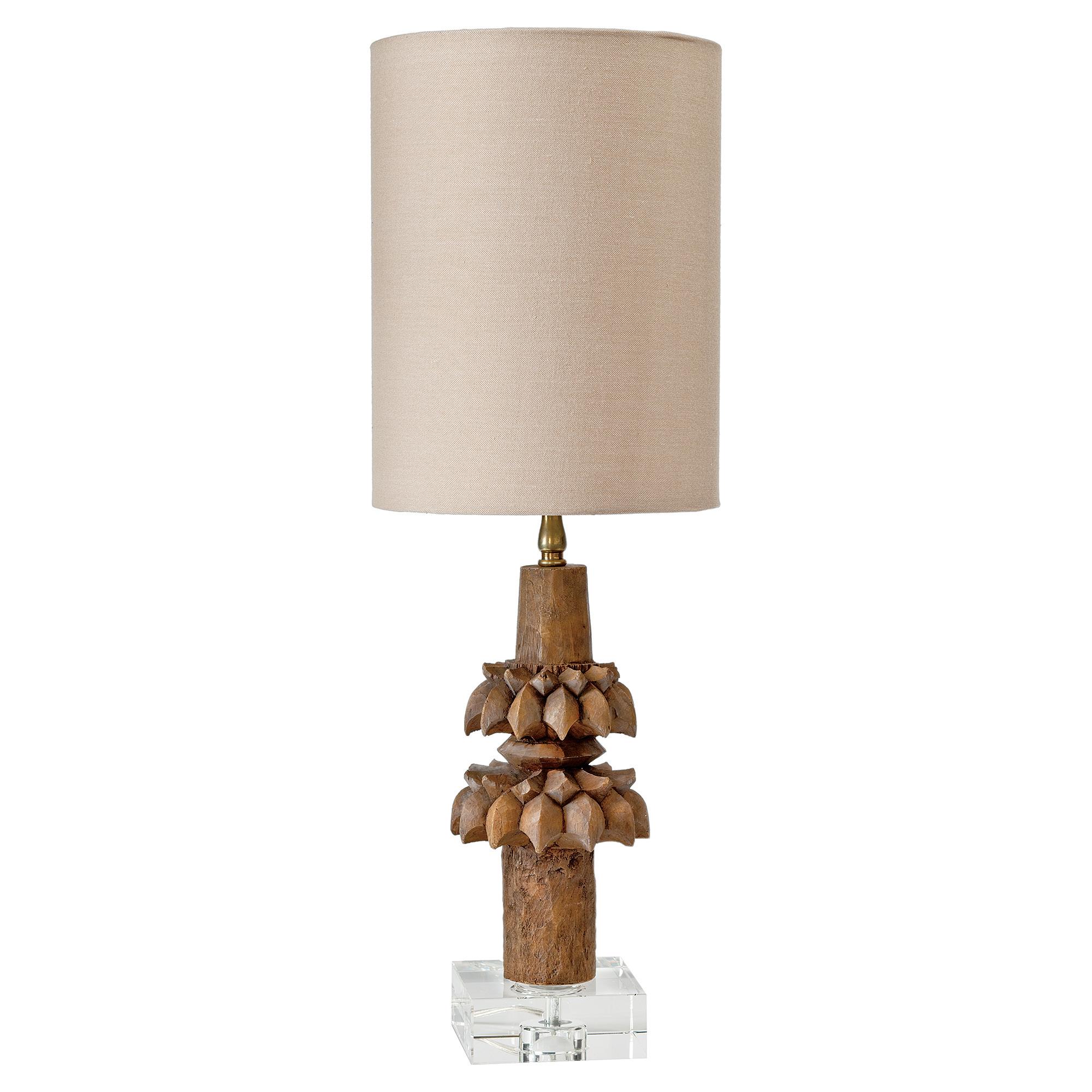 Kalani Global Bazaar Carved Wood Relic Table Lamp