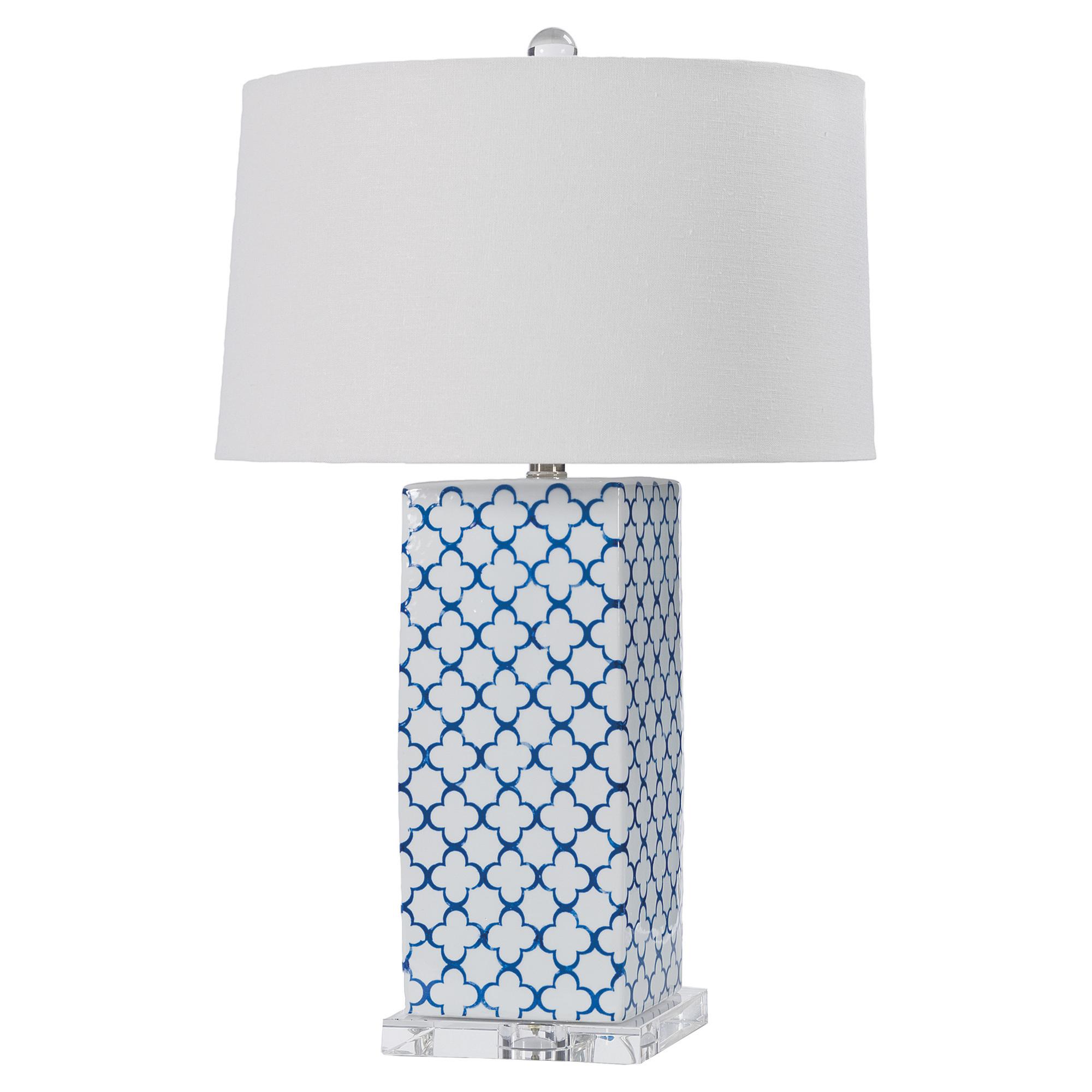 Coastal Beach Blue Quatrefoil White Table Lamp