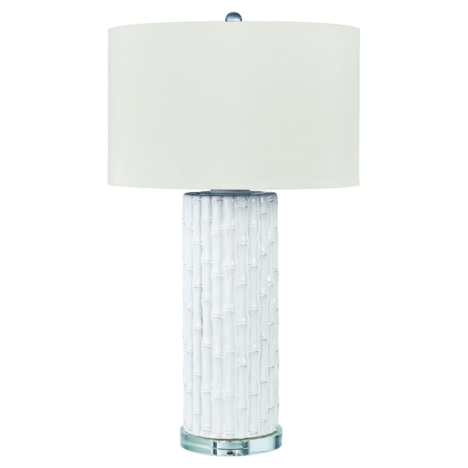 Bambusa Bazaar White Bamboo Ceramic Column Table Lamp