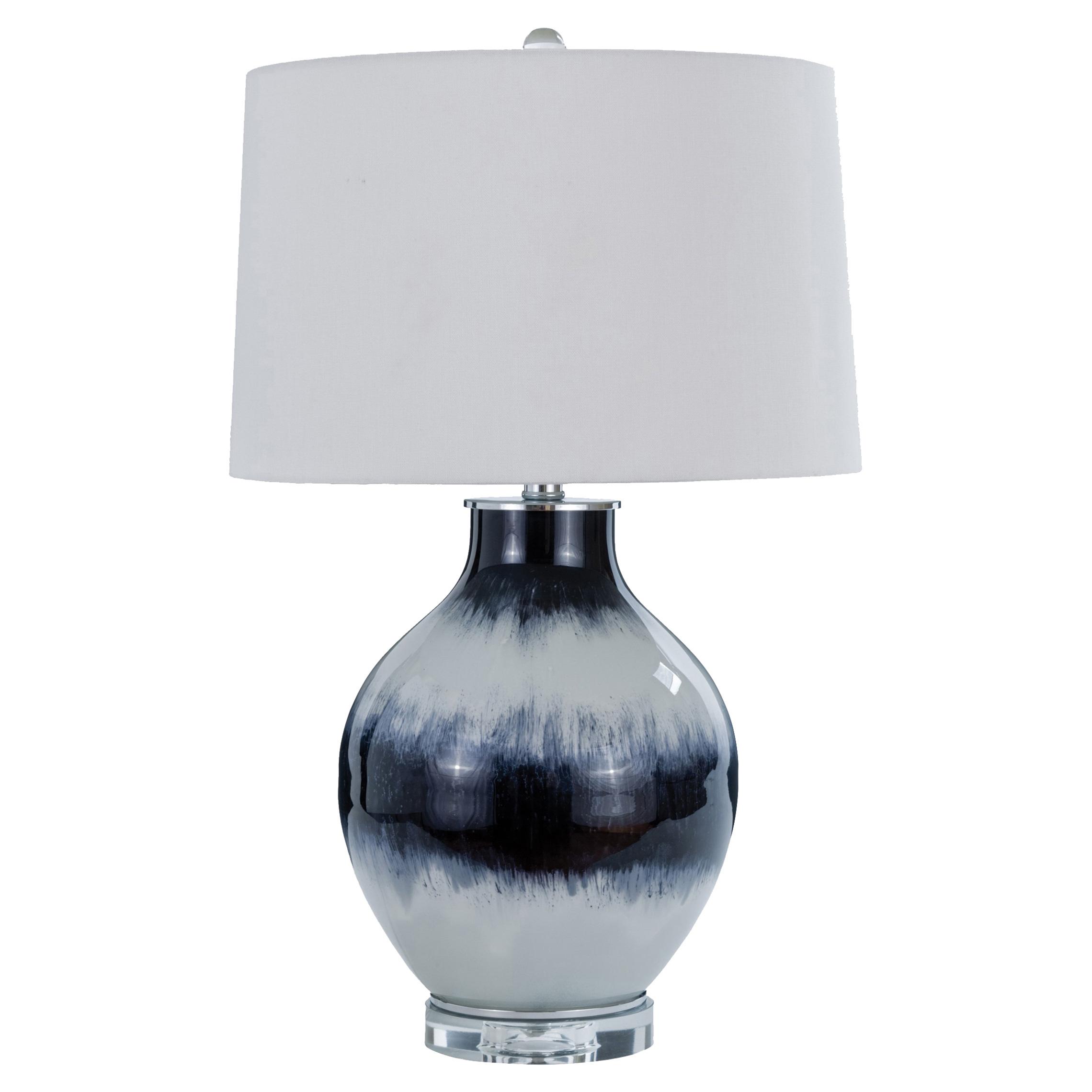 Caledonia Coastal Beach Indigo Ombre Glass Table Lamp