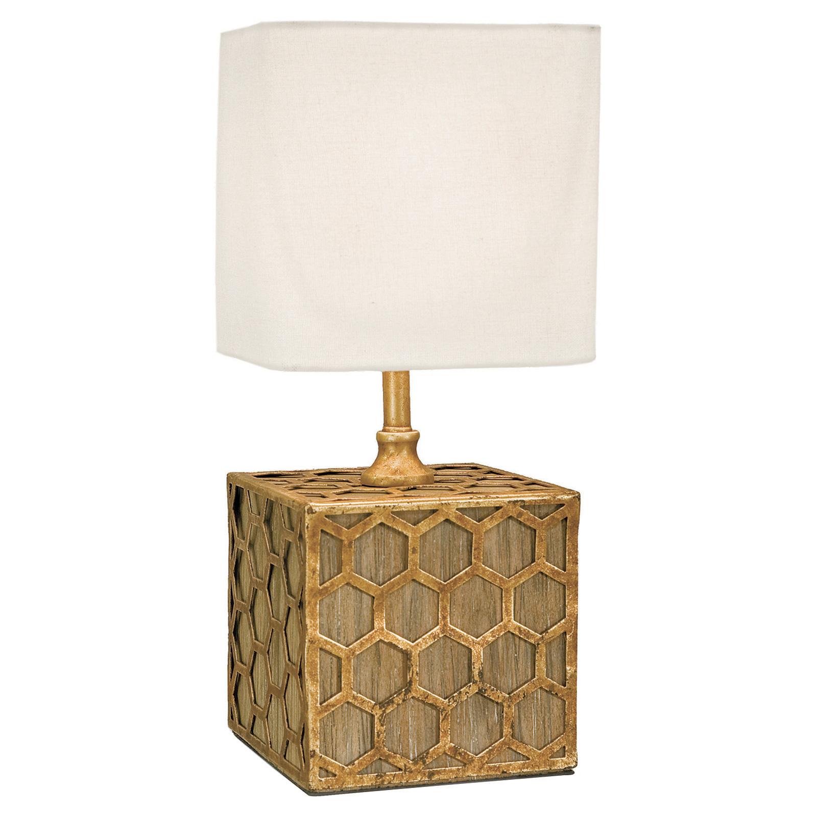 Xela Global Gold Wood Block Hex Mini Lamp