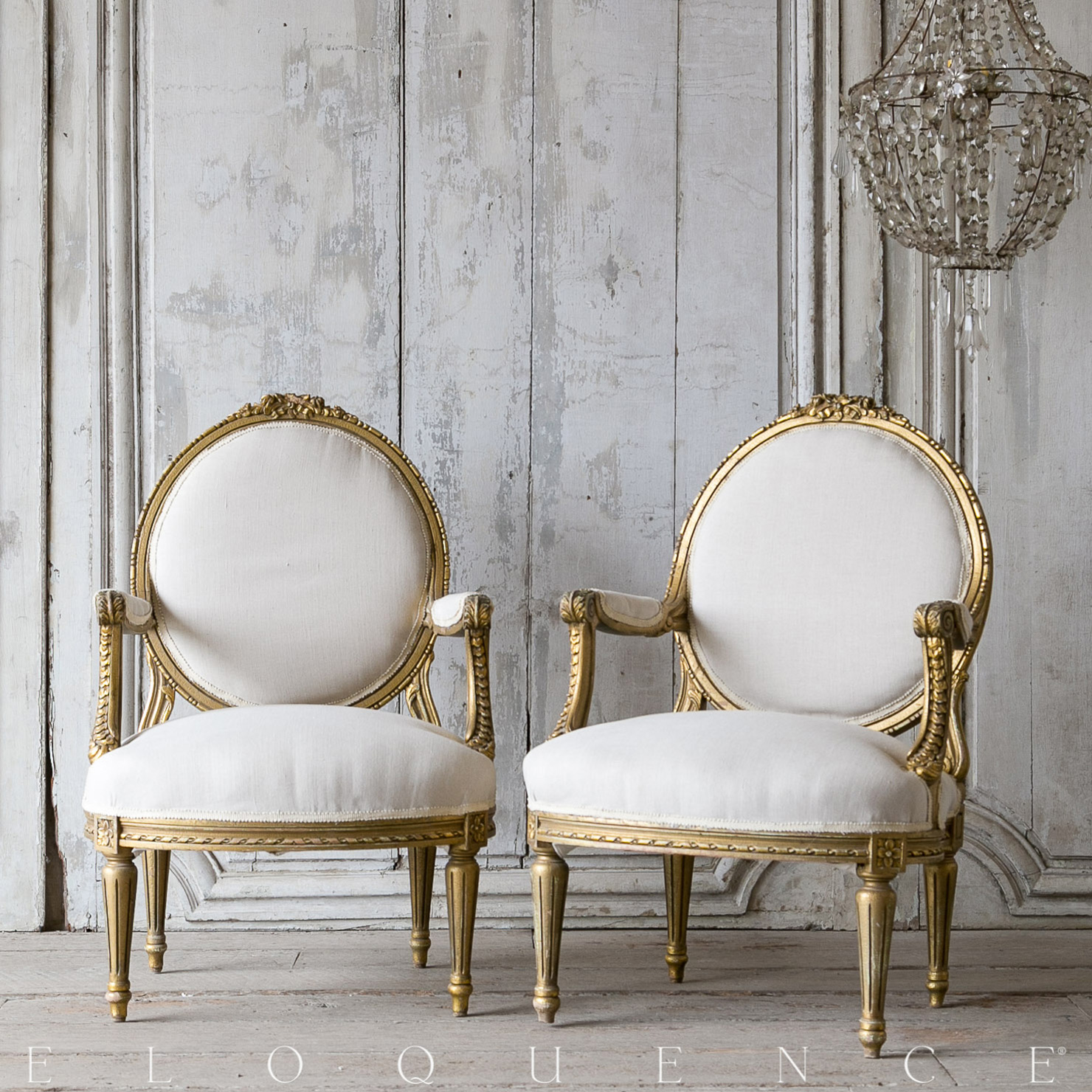 Eloquence® Vintage French Gold Floral Carved Armchairs 1940