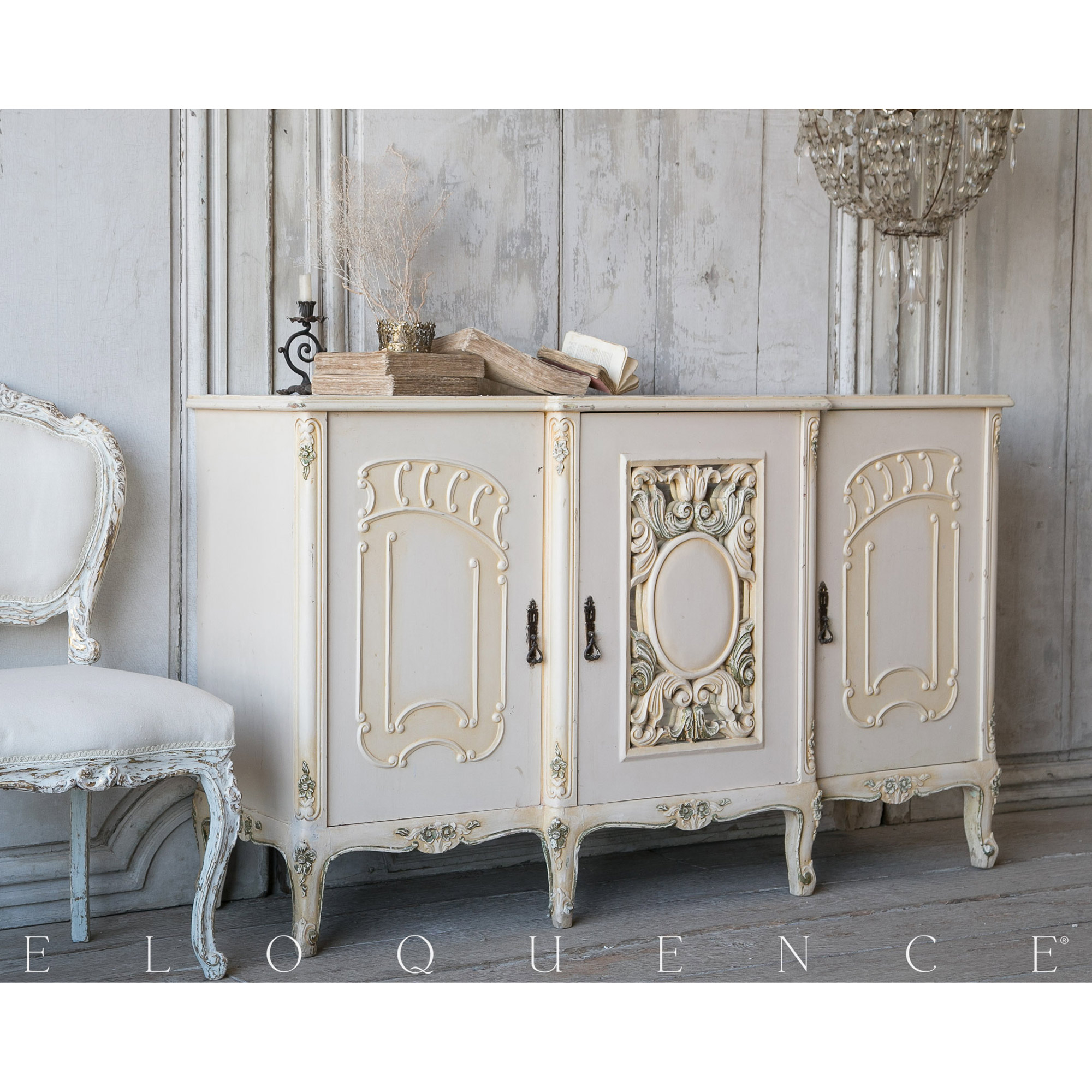 Eloquence® Vintage French Fleur de Lis Cream Sideboard 1940
