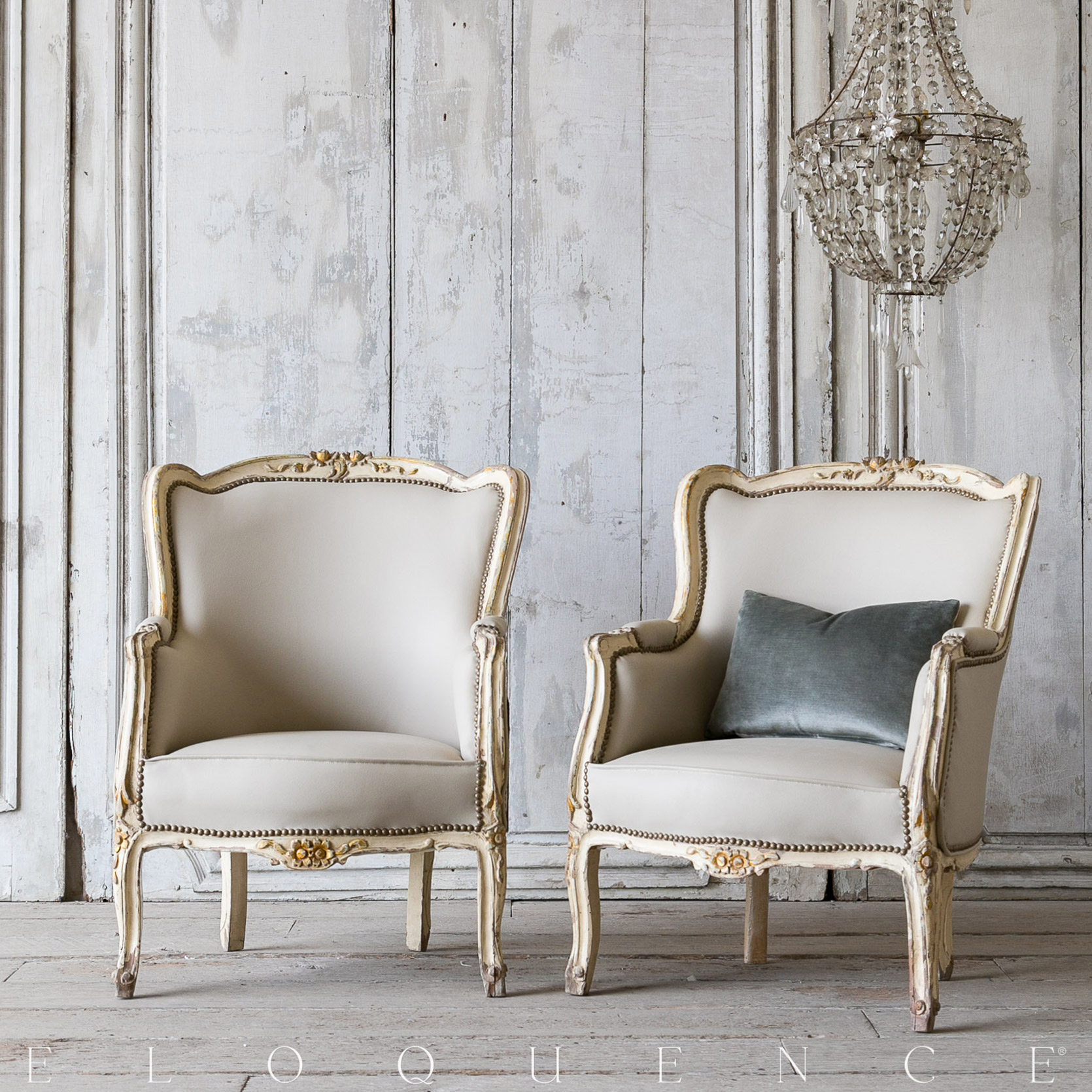 Eloquence® Vintage French Bergere Cream Floral Armchairs 1940