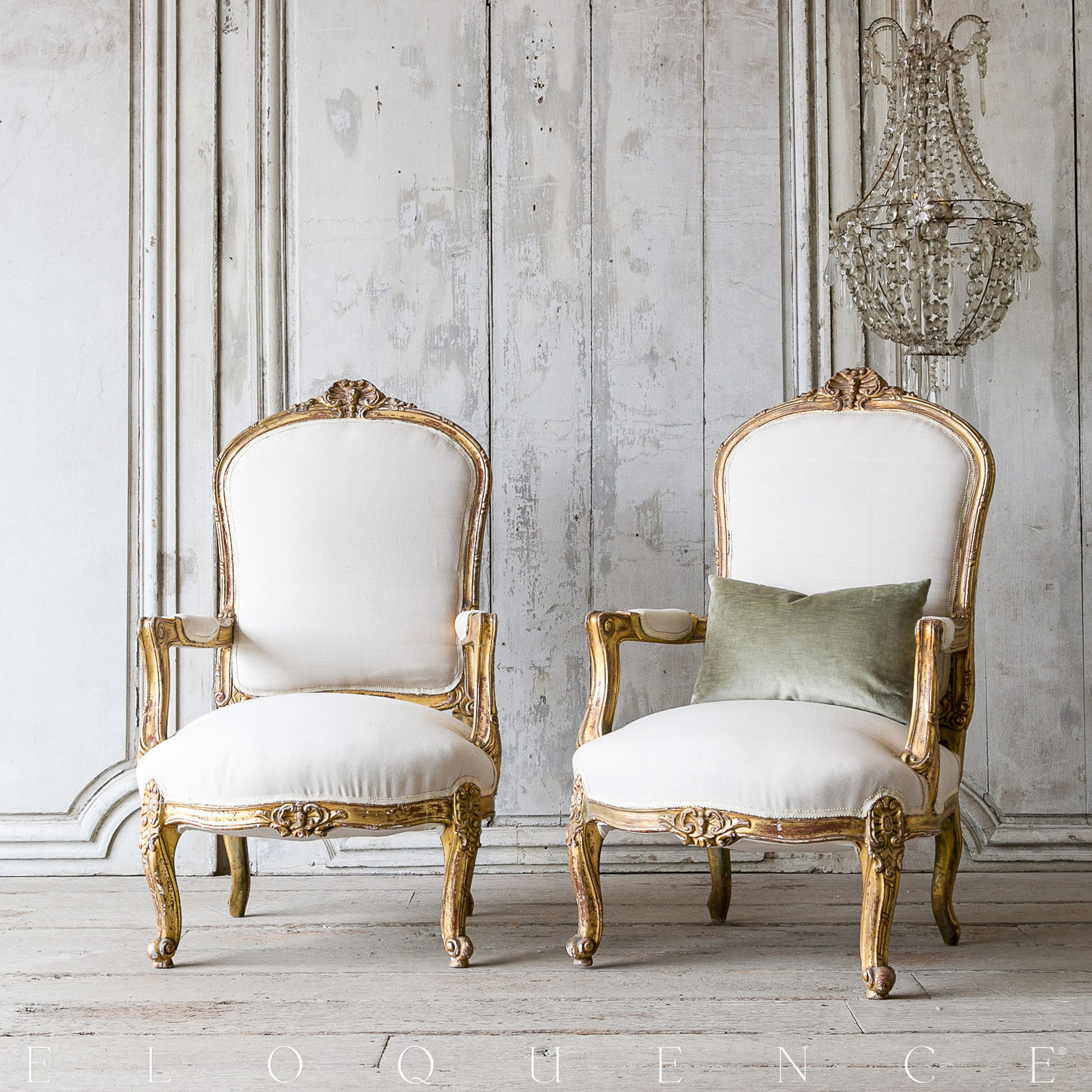Eloquence® Vintage French Gold Louis XVI Style Bergeres Arm Chairs