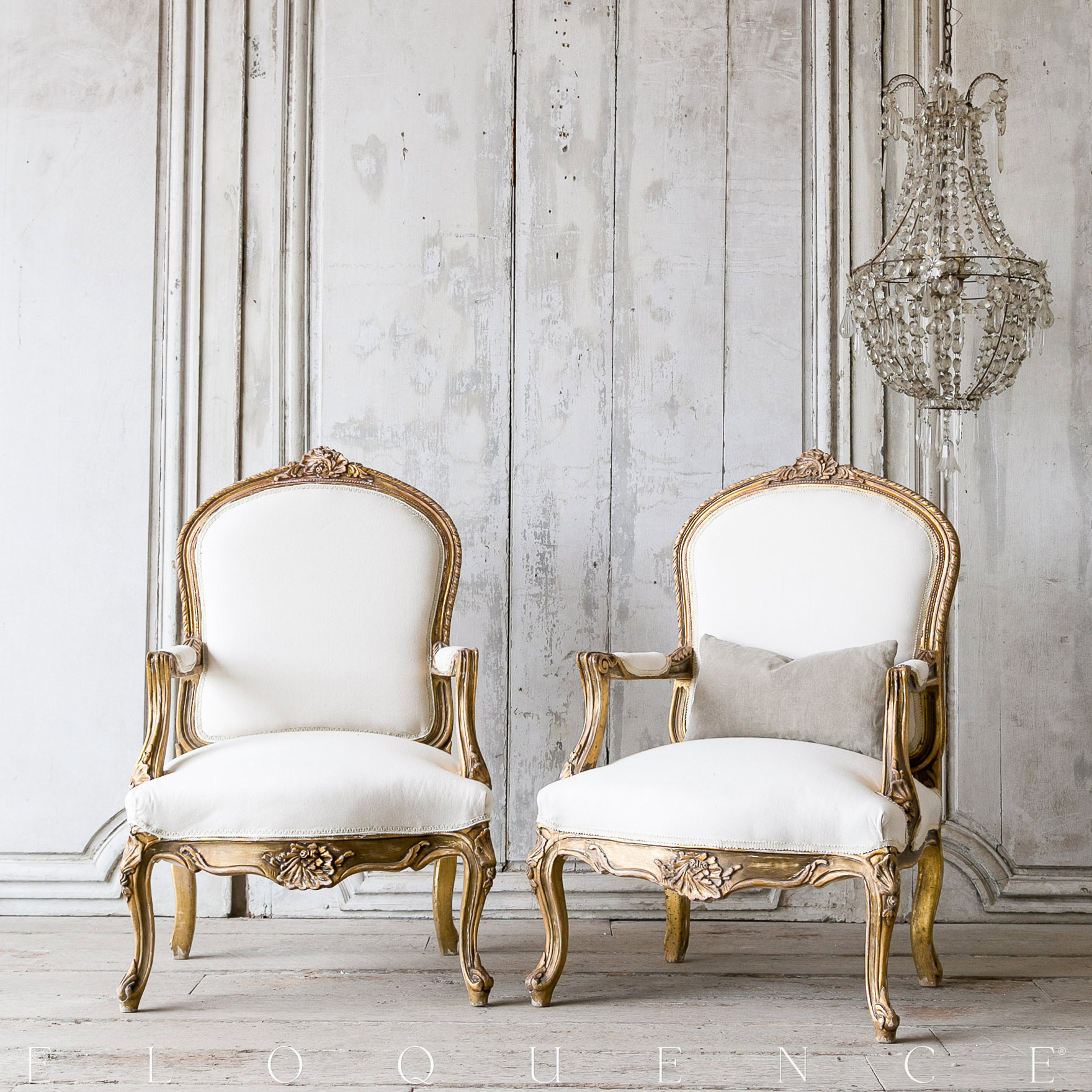 Eloquence® Vintage French Dark Gold Round Back Armchairs 1940