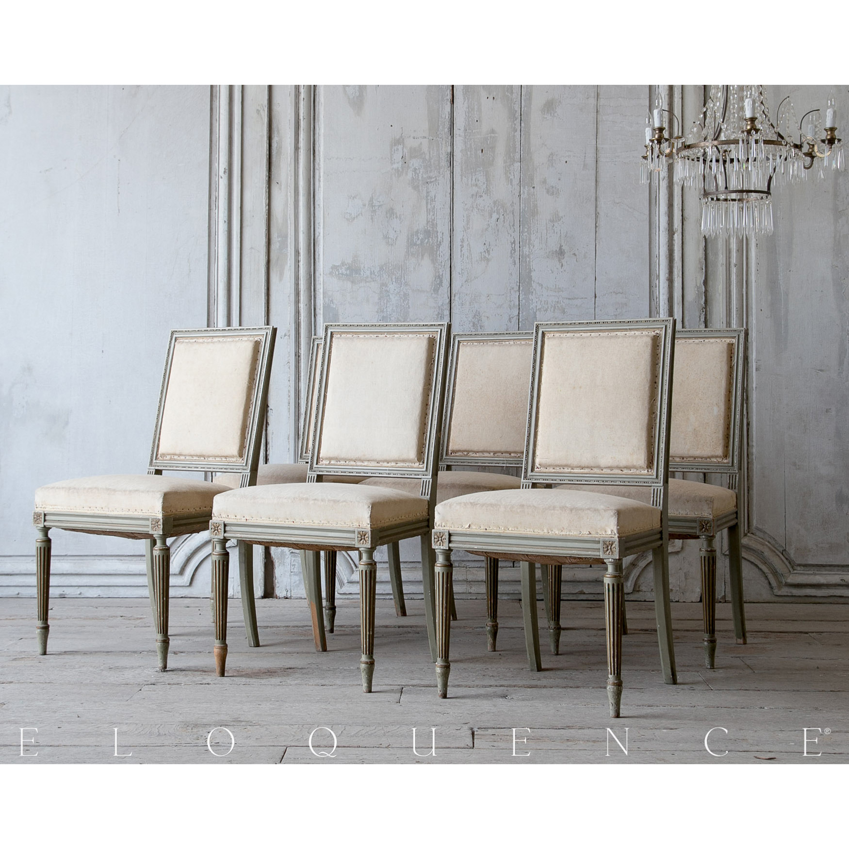 Eloquence® Antique Rectangle Fluted Leg Dining Chairs - Set of 6