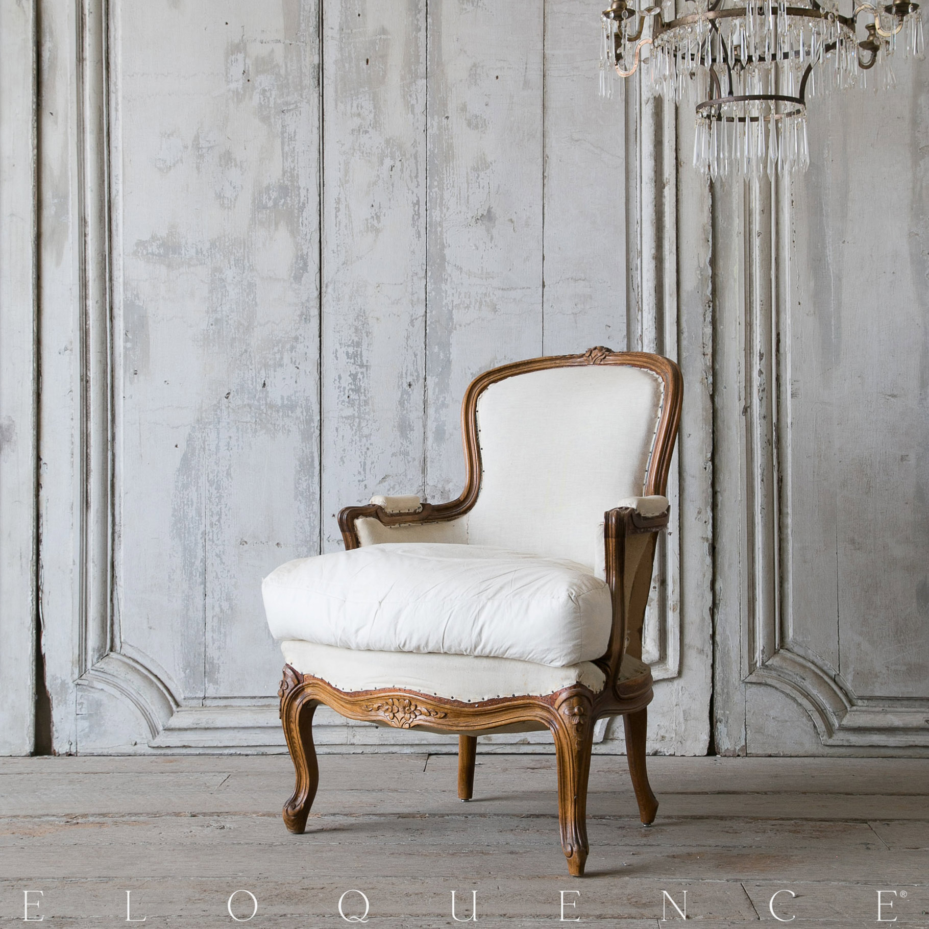 Eloquence® Antique French Stained Wood Bergere Arm Chair