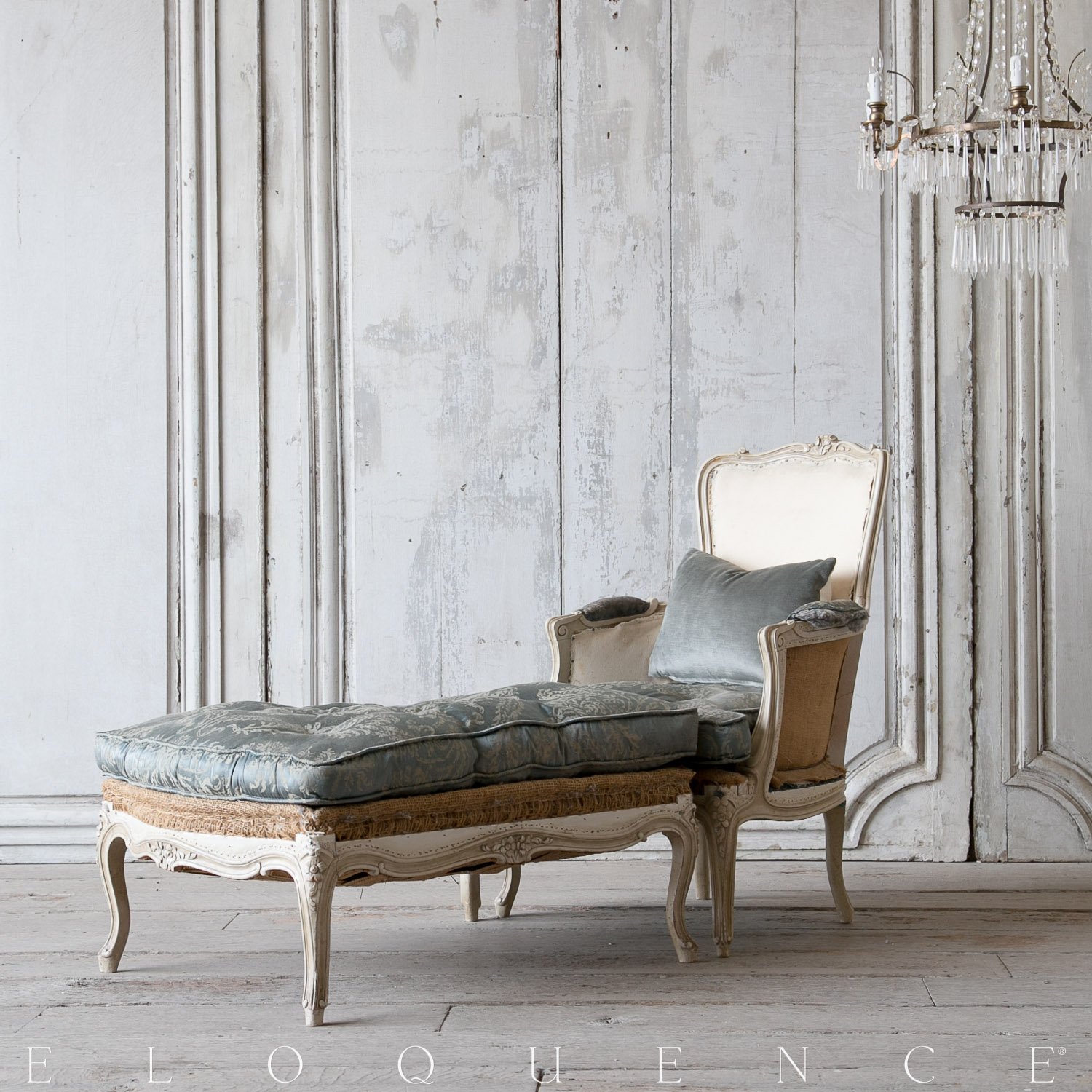 Eloquence® Antique French Ivory Bergere with Ottoman