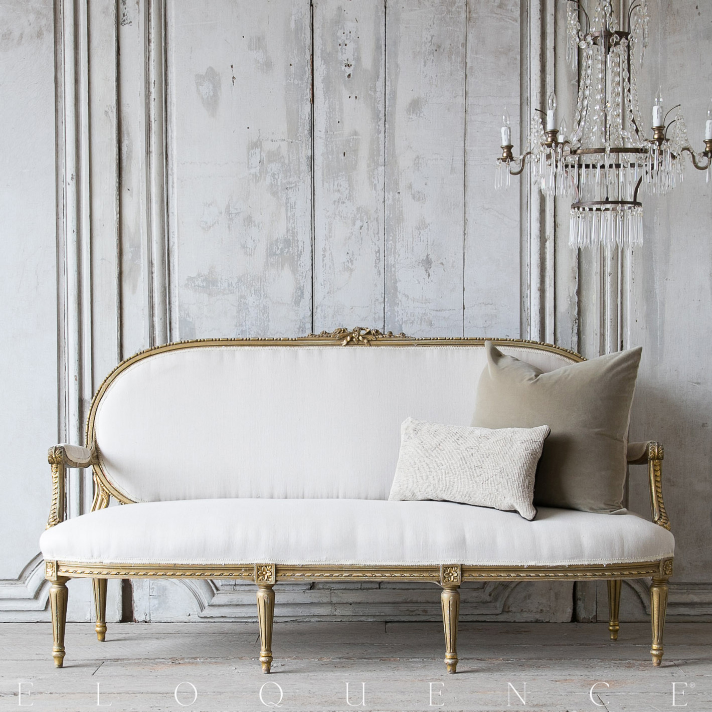 Eloquence® Vintage French Oval Gold Carved Settee Sofa 1940