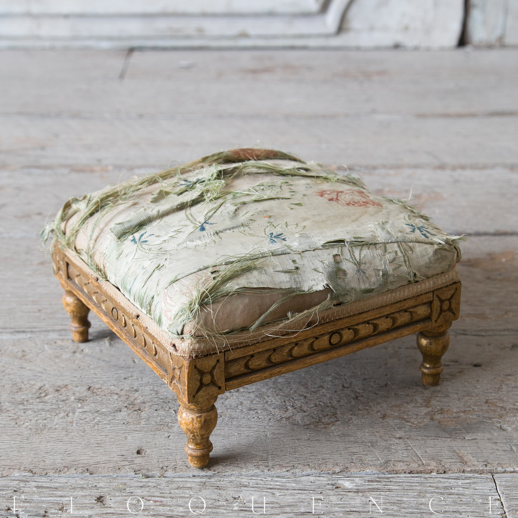 Eloquence® Antique French Aged Silk Upholstered Carved Foot Stool