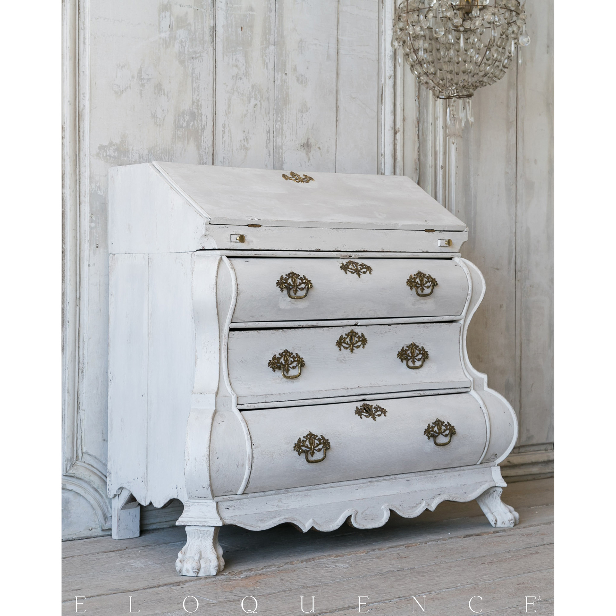 Eloquence® Antique French White Secretary 3 Drawer Desk
