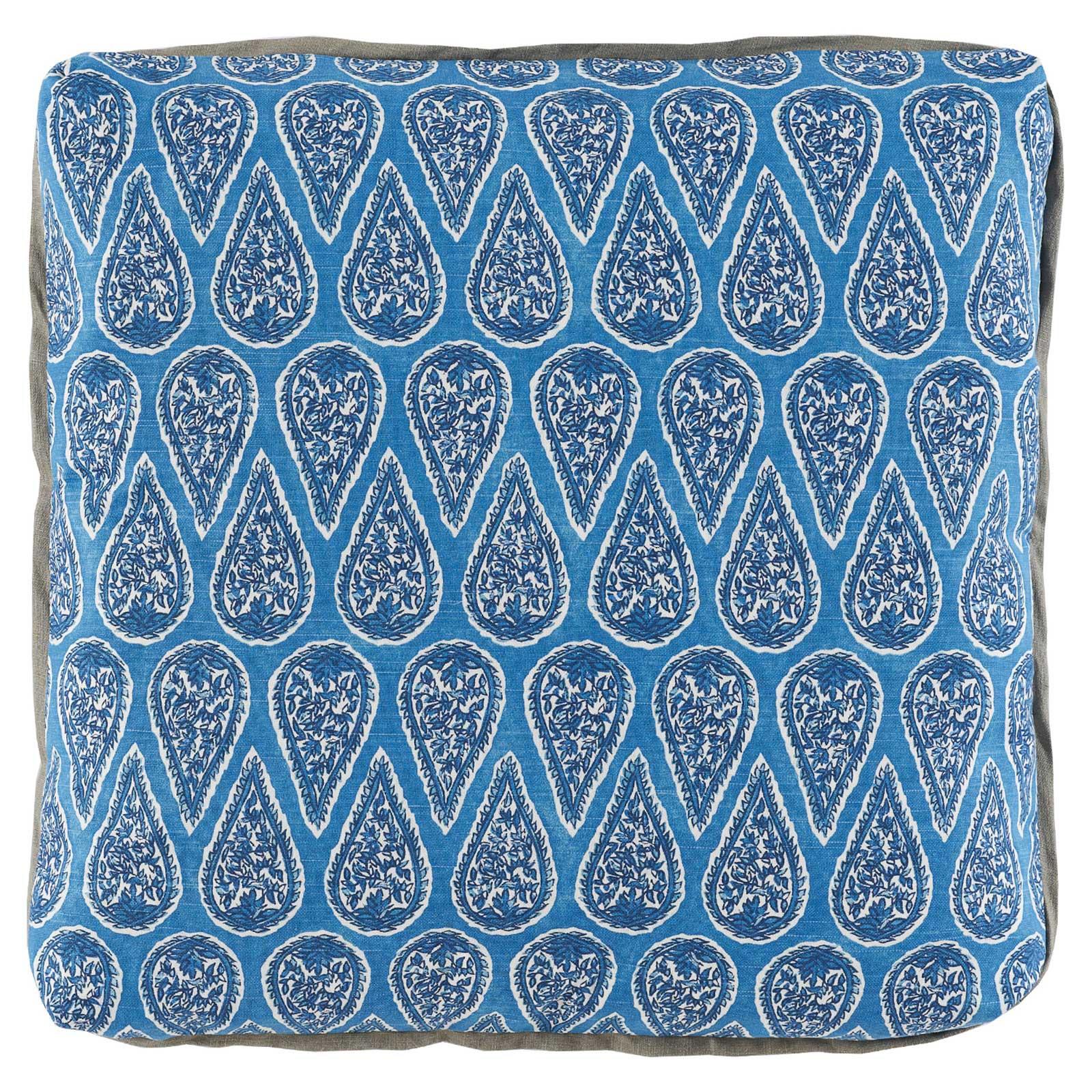 Eleni Global Bazaar Blue Paisley Block Pillow - 24x24
