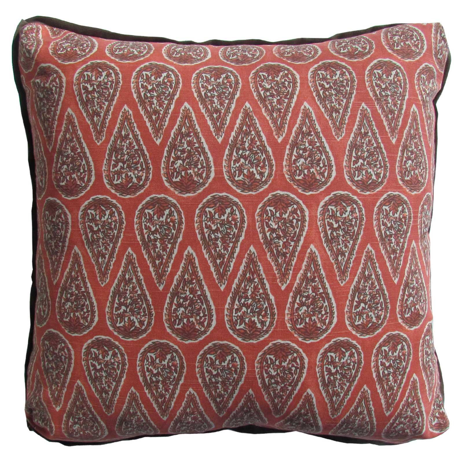 Eleni Global Bazaar Red Paisley Block Pillow - 24x24