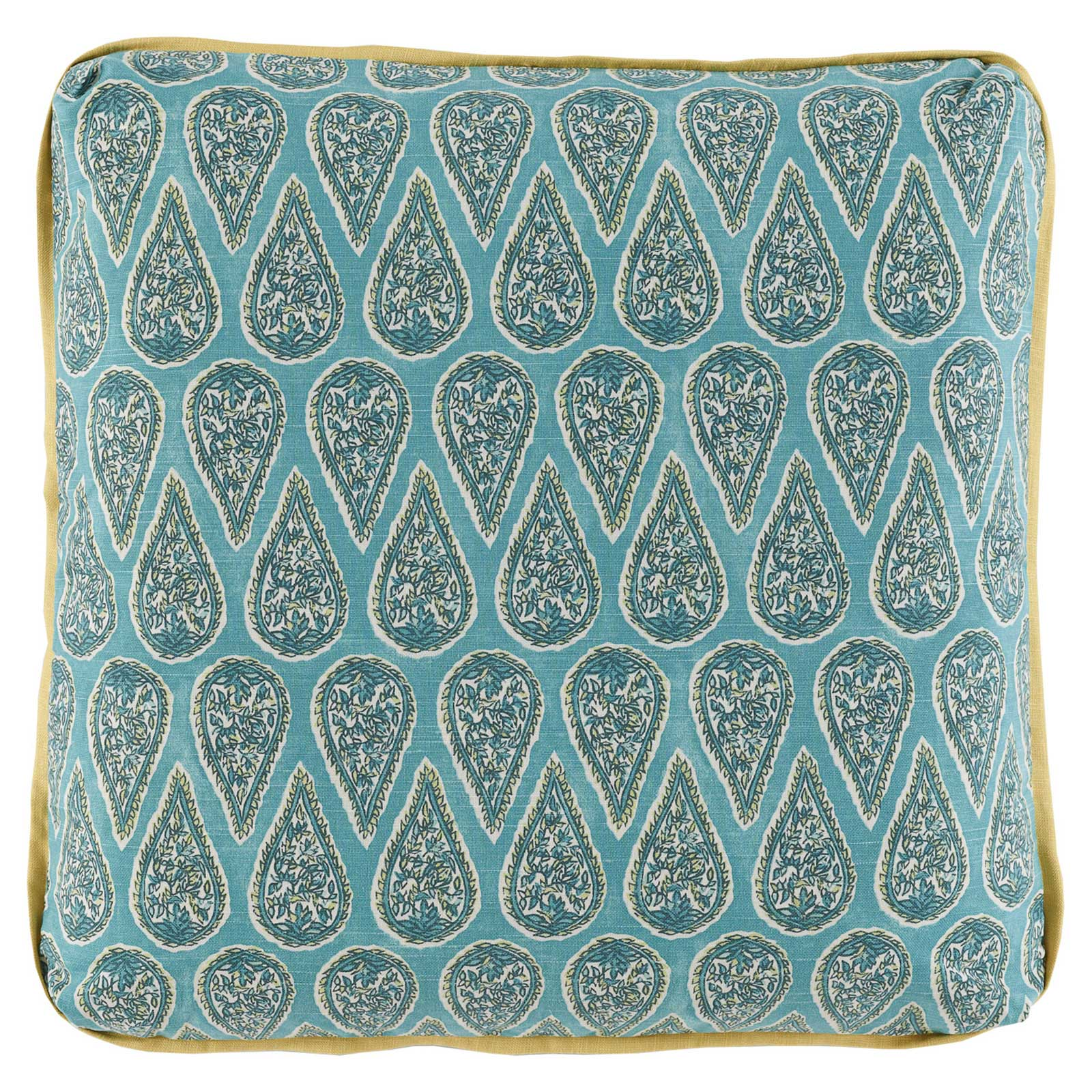 Eleni Global Bazaar Teal Paisley Block Pillow - 24x24