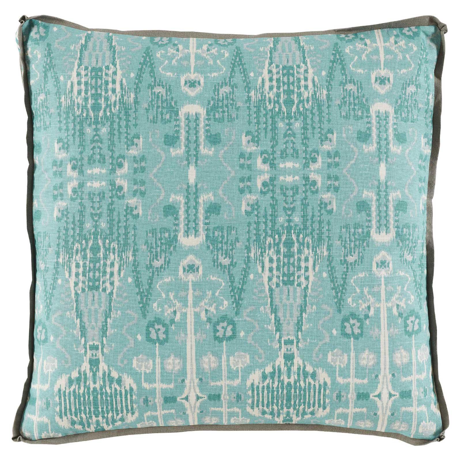 Kolkata Global Bazaar Aqua Ikat Pillow - 24x24