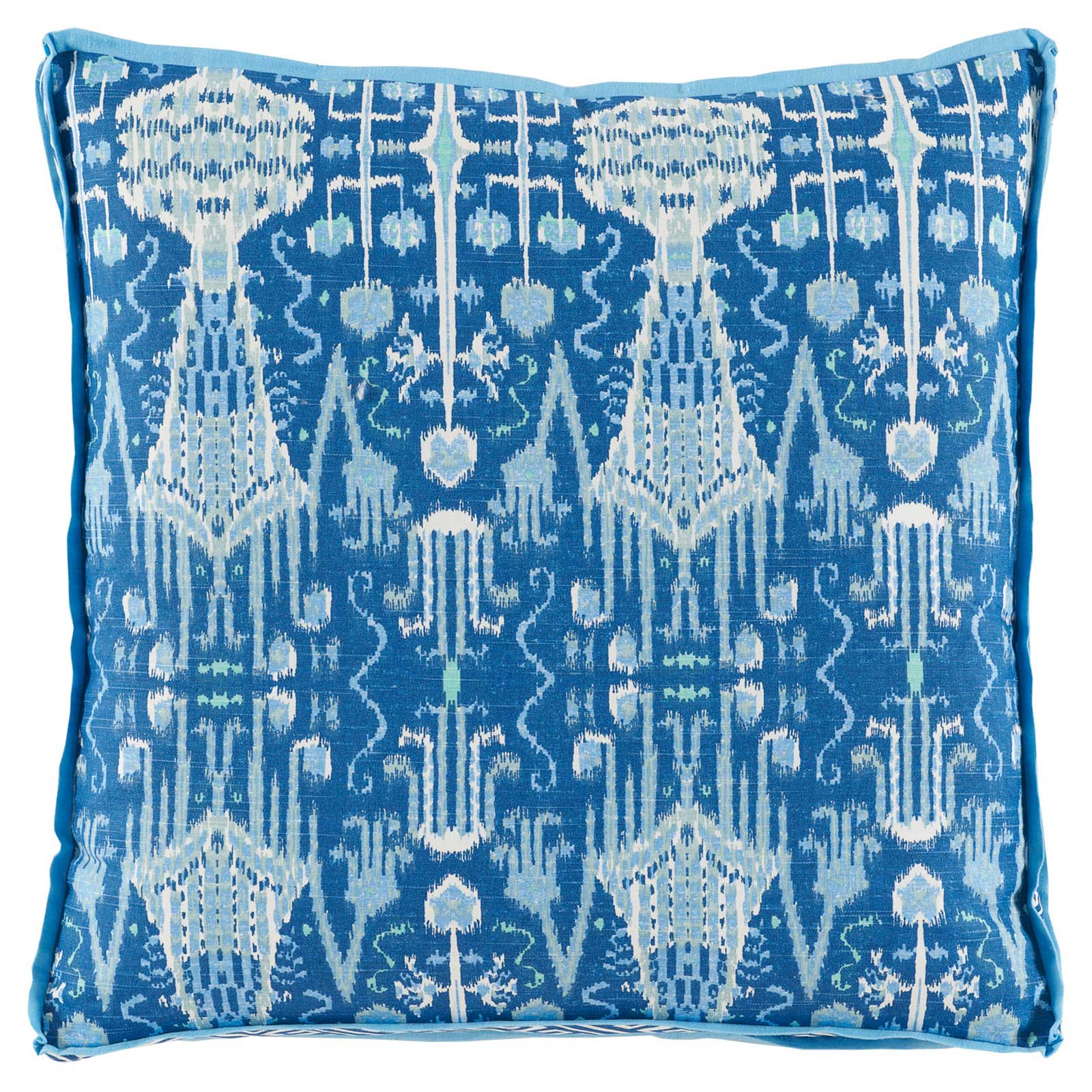 Kolkata Global Bazaar Blue Ikat Pillow - 24x24