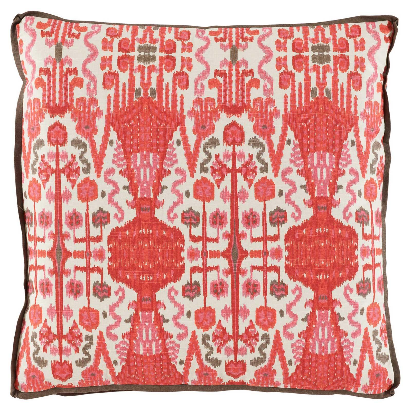 Kolkata Global Bazaar Coral Red Ikat Pillow - 24x24