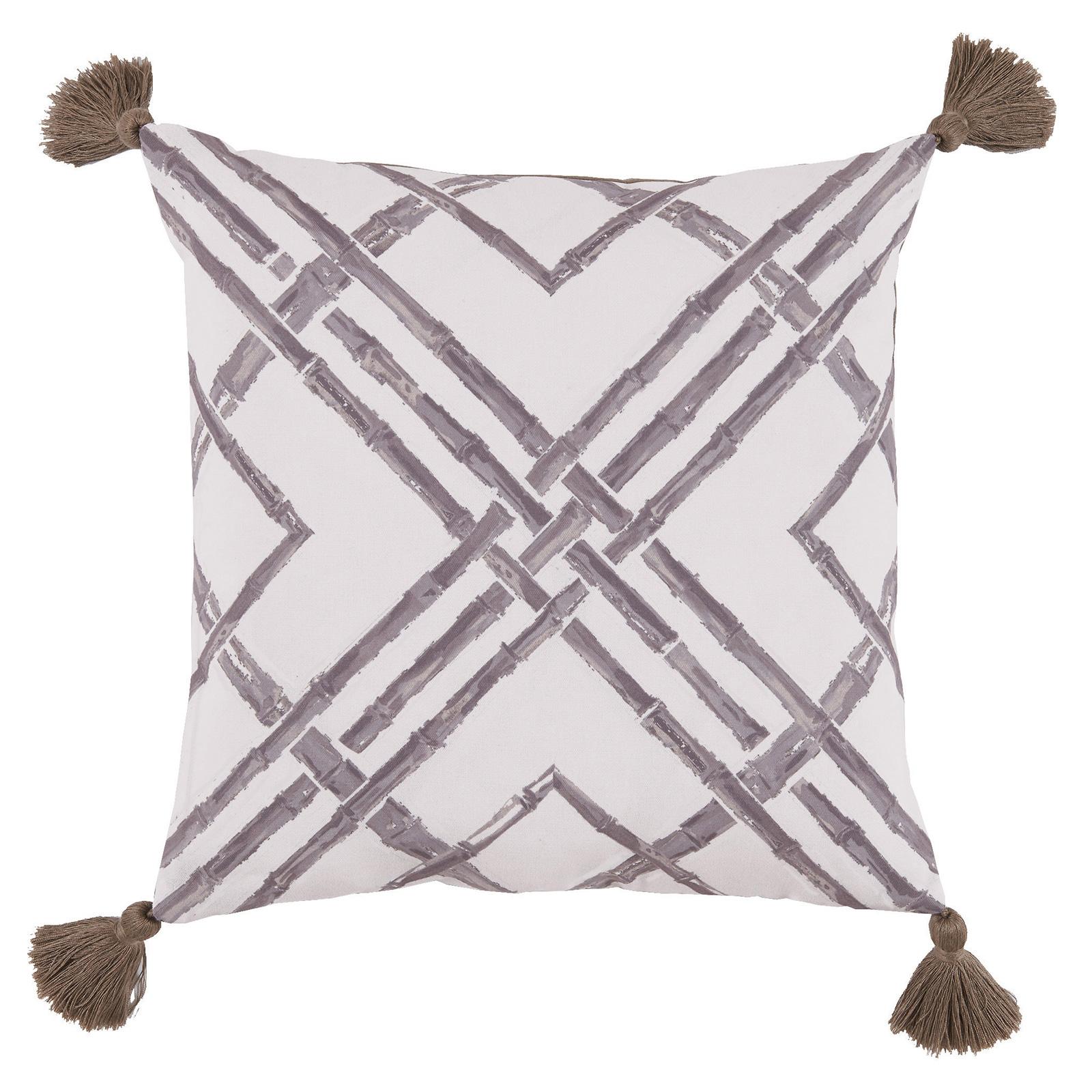 Mumbi Bazaar Taupe Bamboo Tassel Outdoor Pillow - 20x20