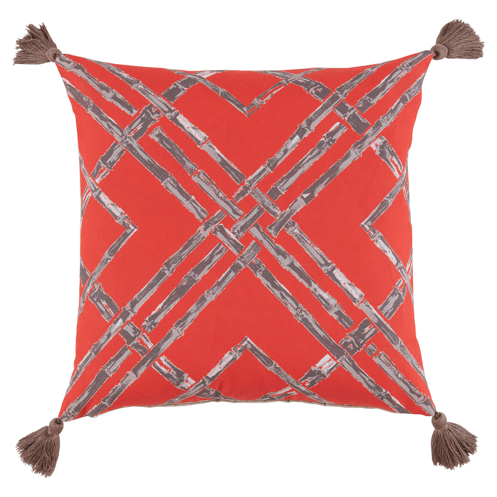 Mumbi Bazaar Melon Bamboo Tassel Outdoor Pillow - 20x20