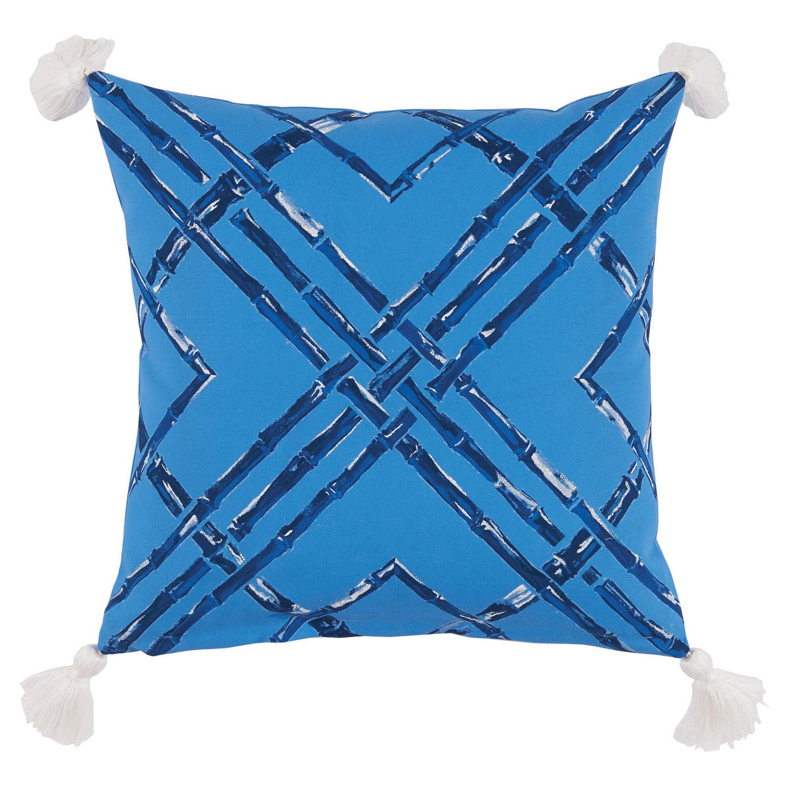 Mumbi Bazaar Bright Blue Bamboo Tassel Outdoor Pillow - 20x20