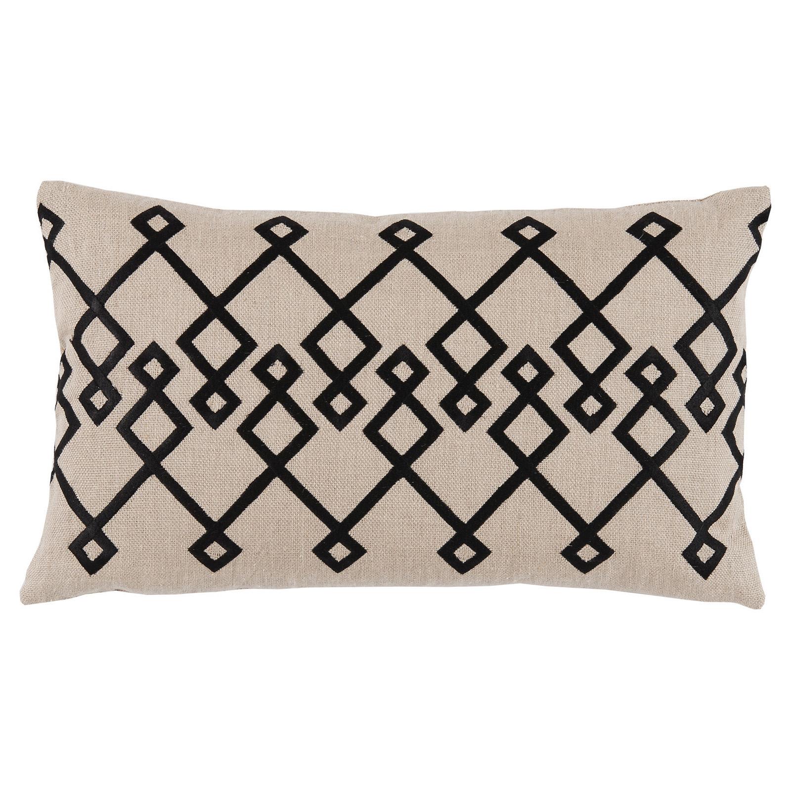 Steph Modern Black Chevron Stitch Beige Pillow - 13x22