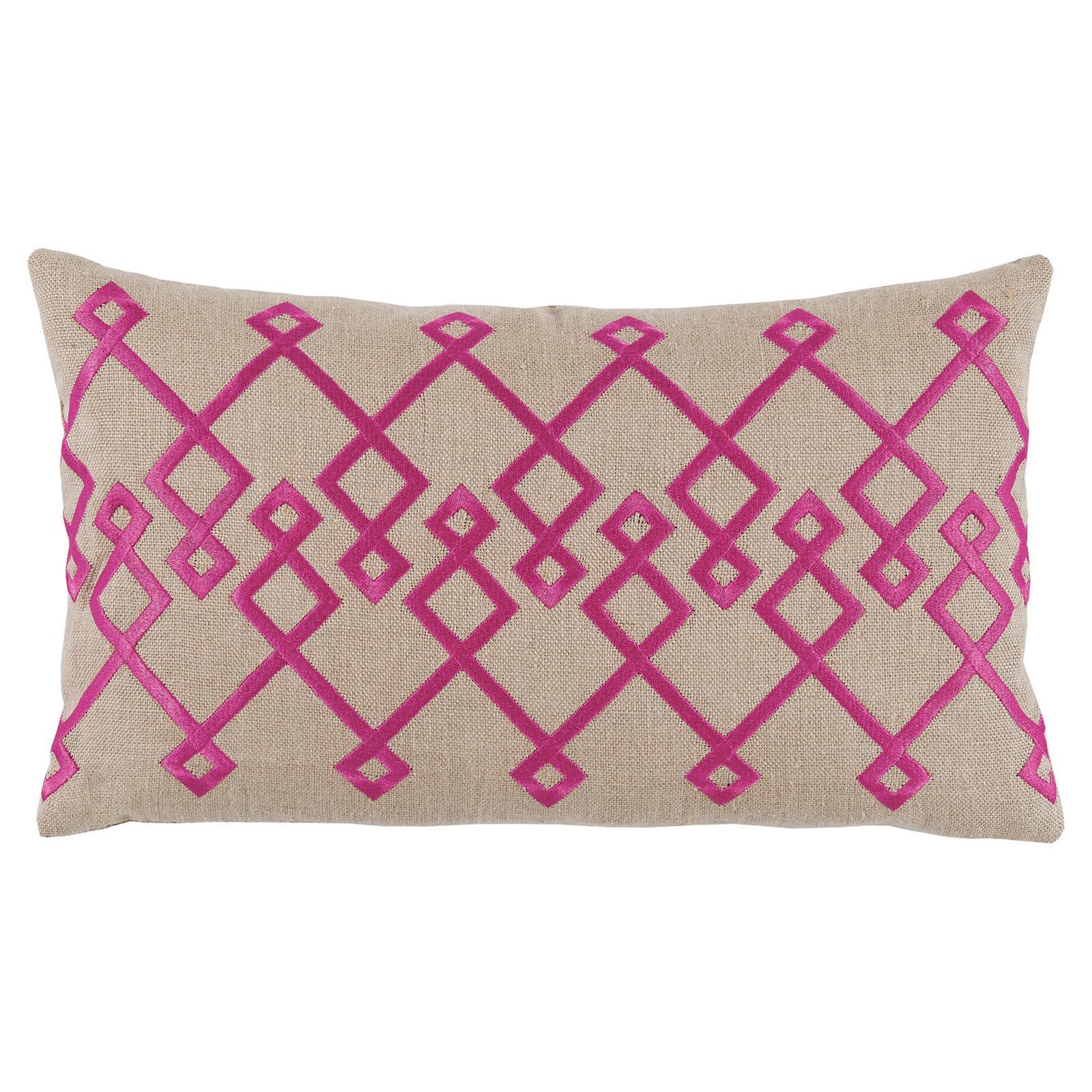 Steph Modern Fuchsia Chevron Stitch Beige Pillow - 13x22