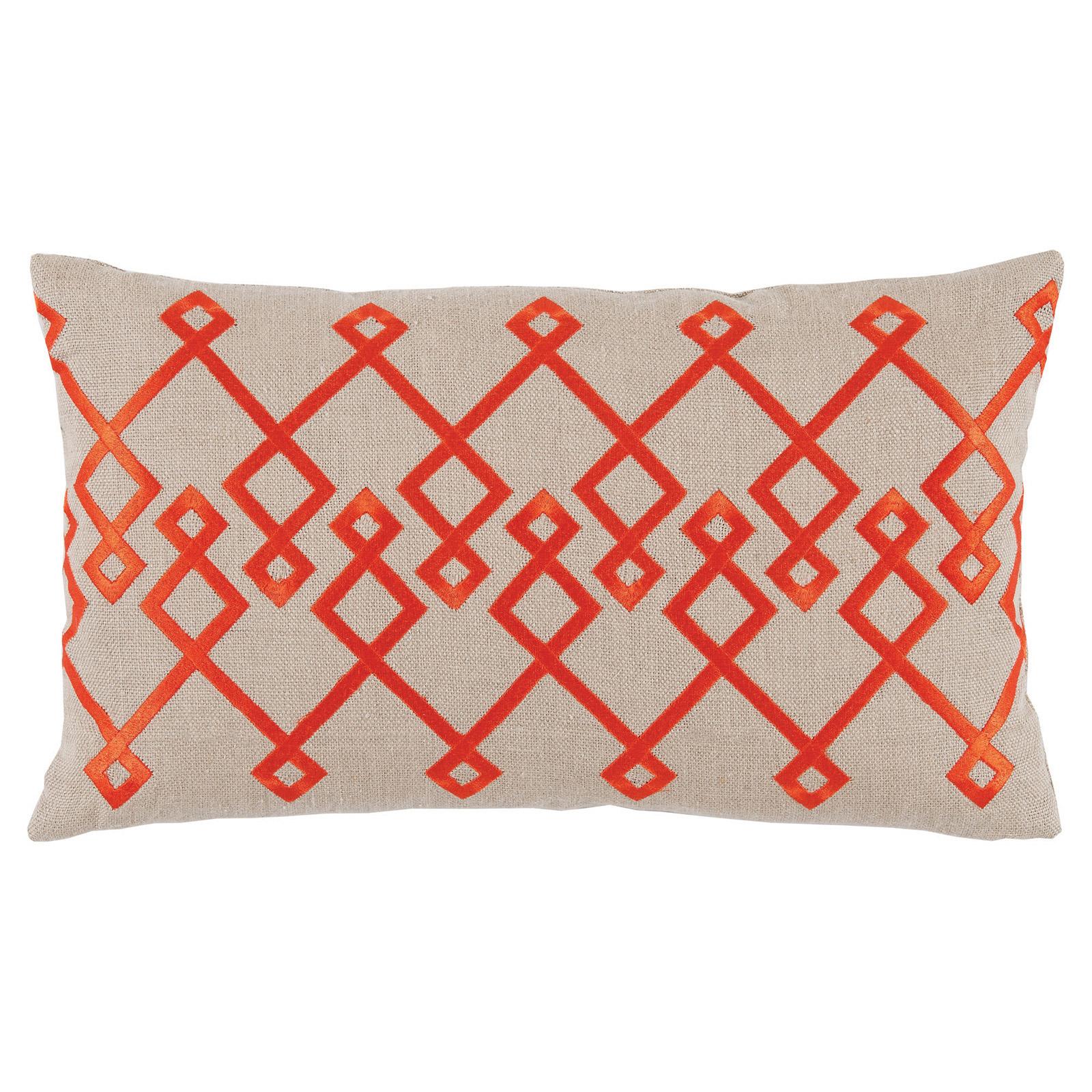 Steph Modern Orange Chevron Stitch Beige Pillow - 13x22