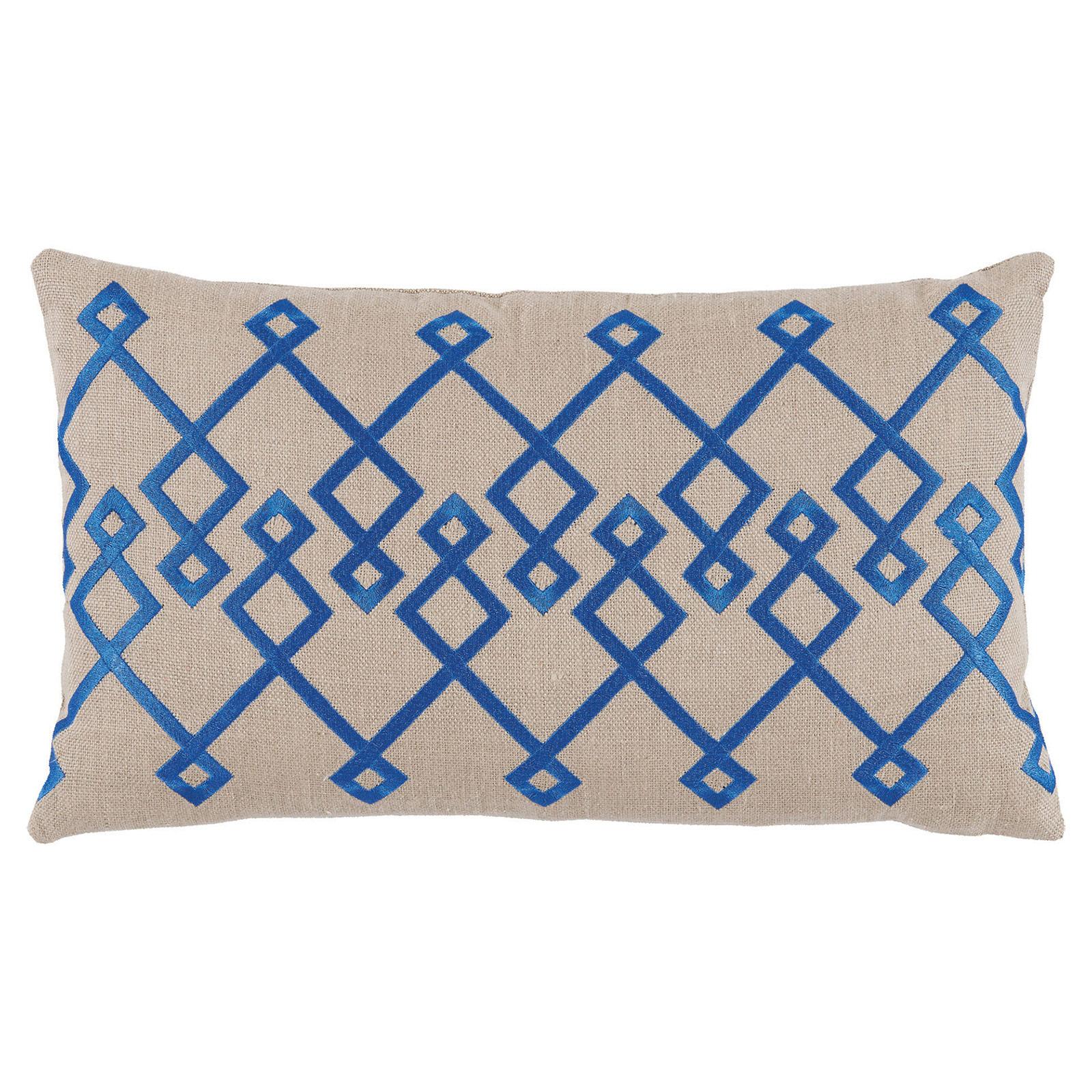 Steph Modern Blue Chevron Stitch Beige Pillow - 13x22