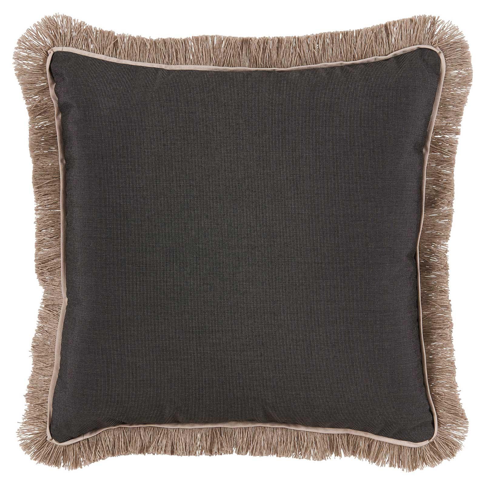 Talli Regency Fringe Black Outdoor Pillow - 20x20