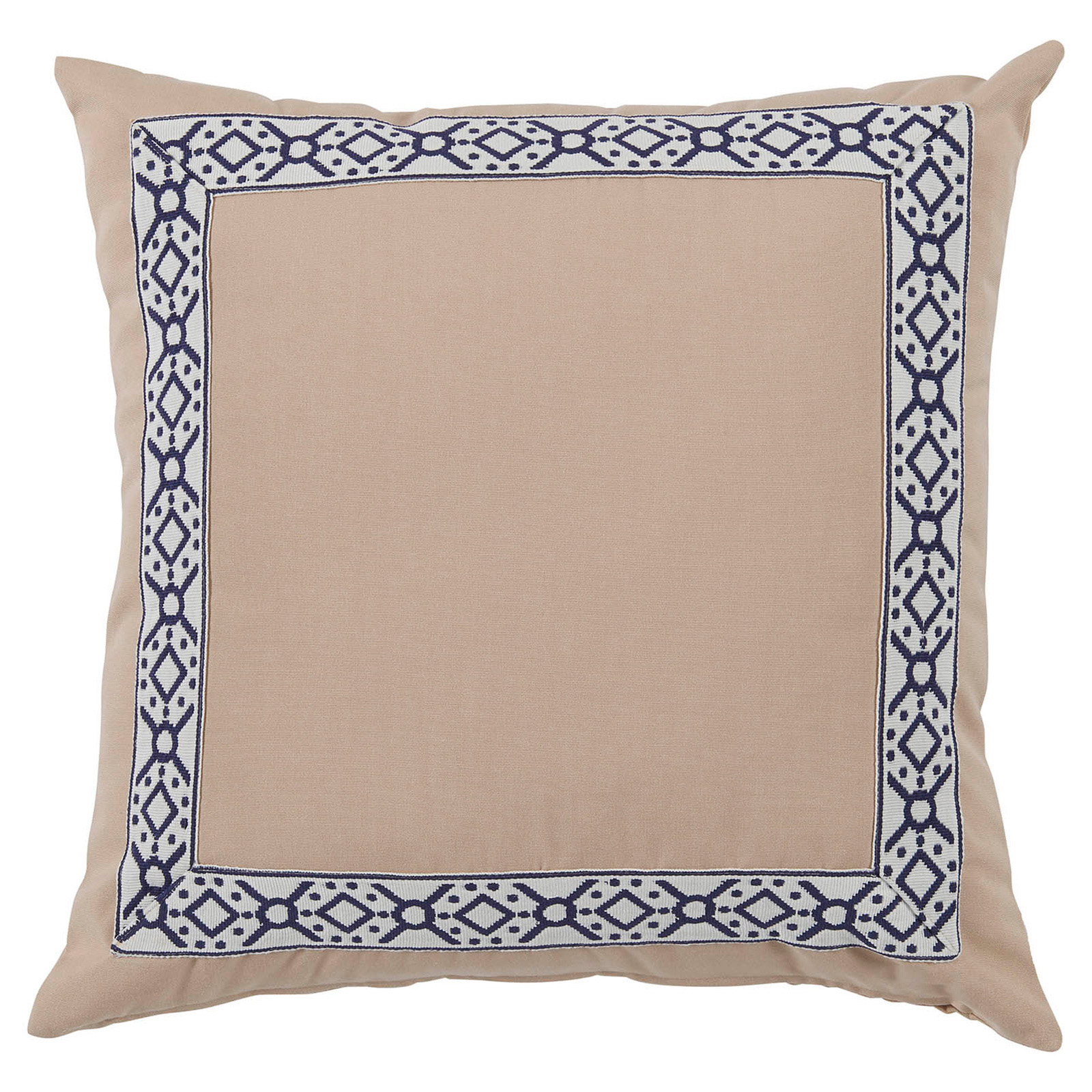 Perri Modern Global Navy Trim Beige Outdoor Pillow - 22x22