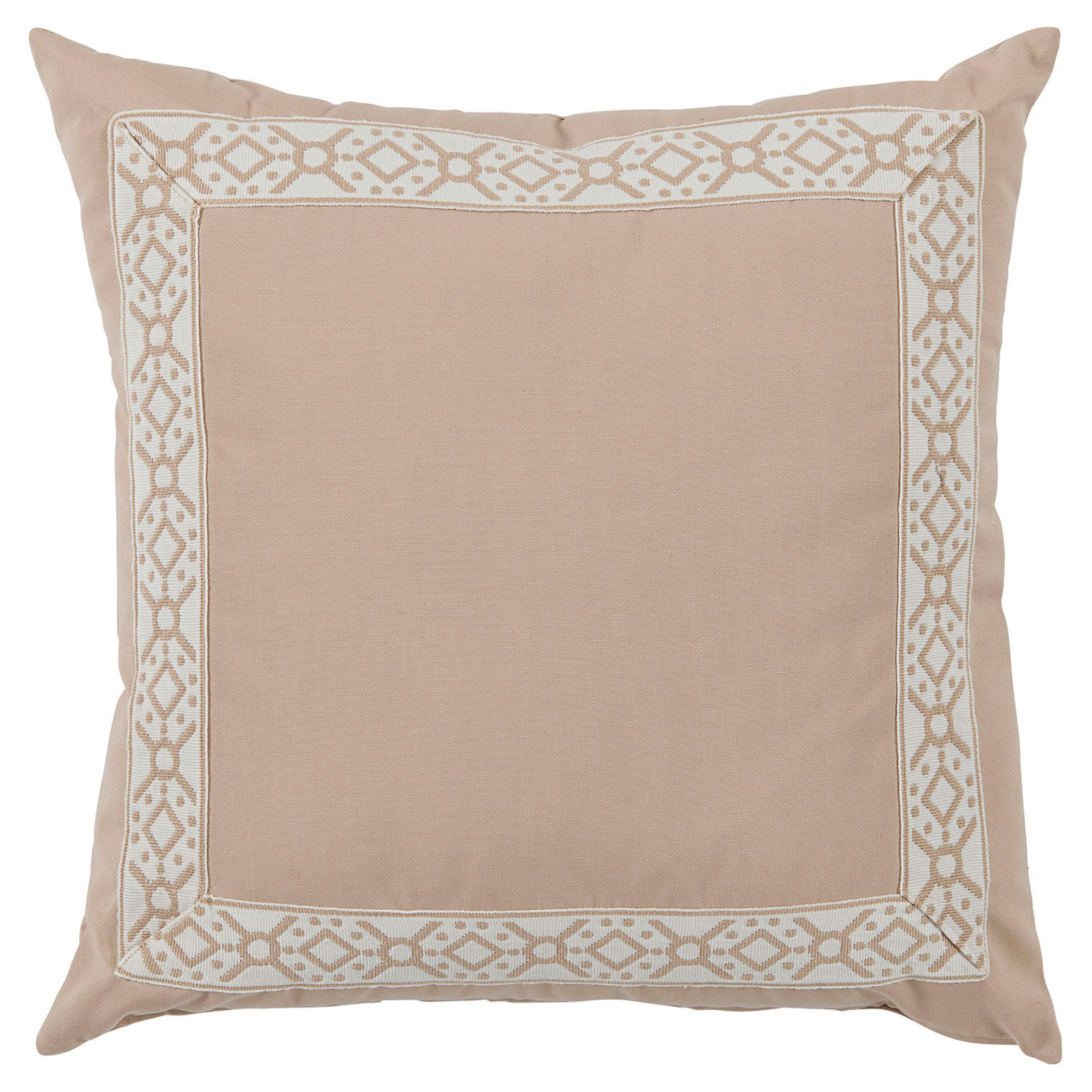 Perri Modern Global Ivory Trim Beige Outdoor Pillow - 22x22