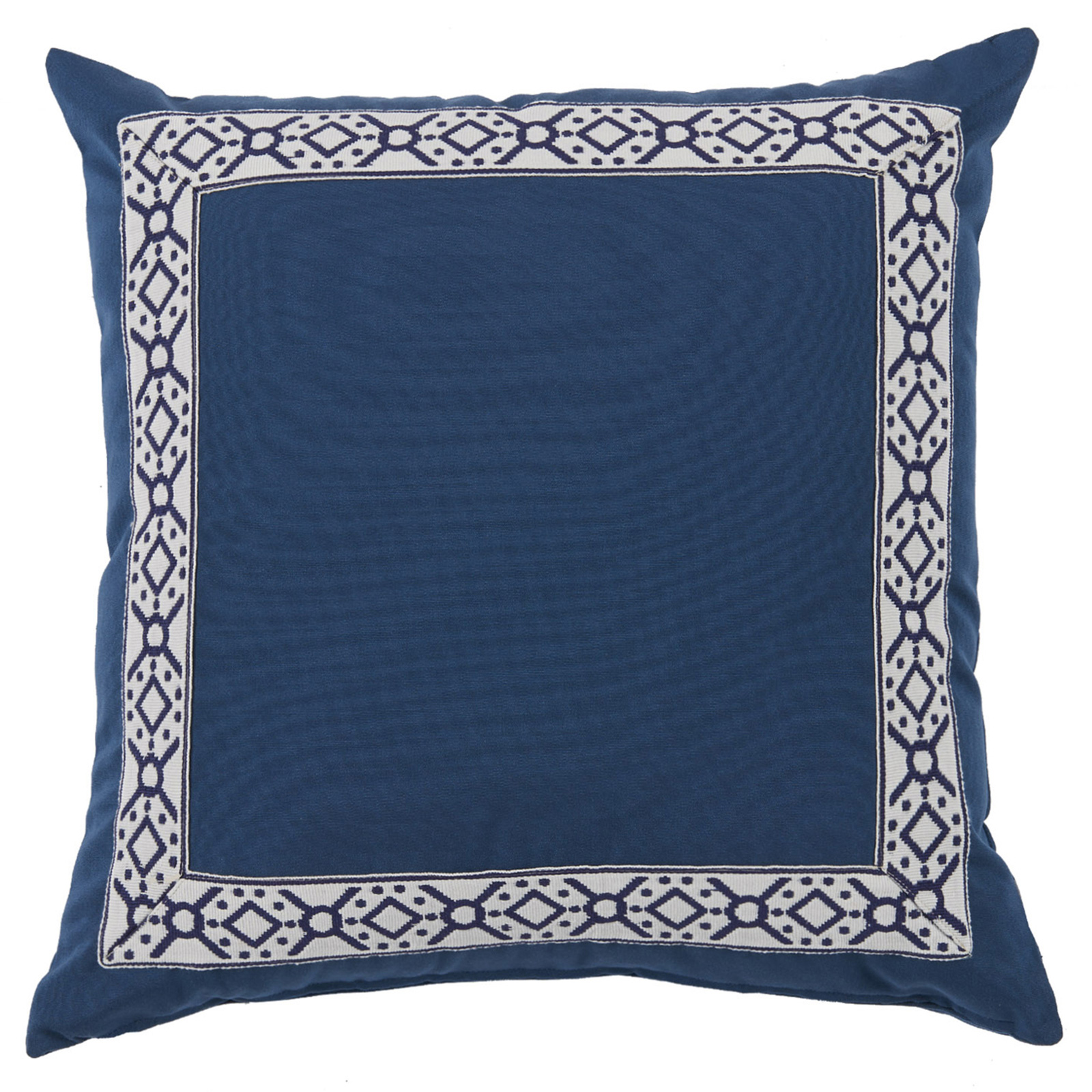 Perri Modern Global Trim Navy Blue Outdoor Pillow - 22x22