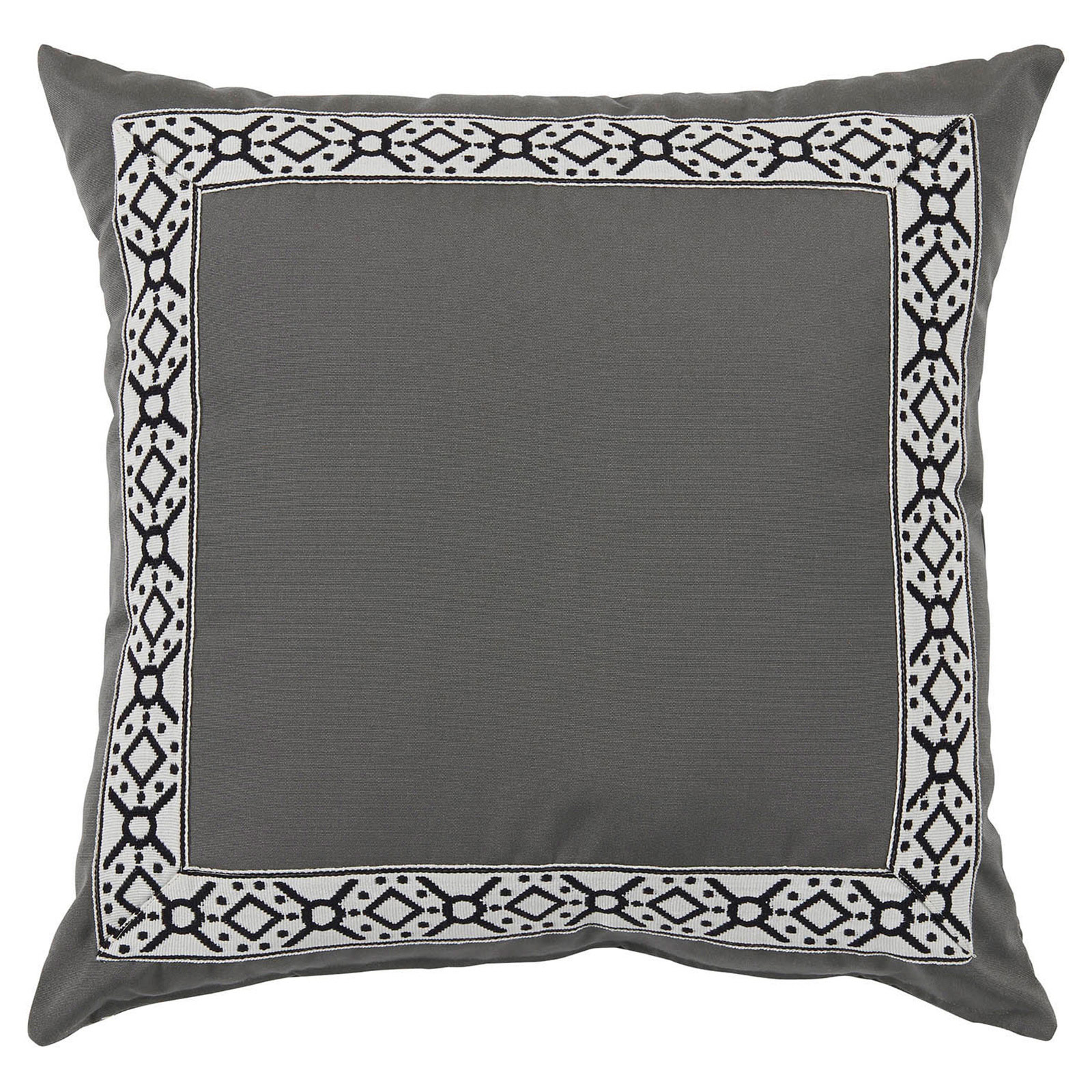 Perri Modern Global Trim Grey Outdoor Pillow - 22x22