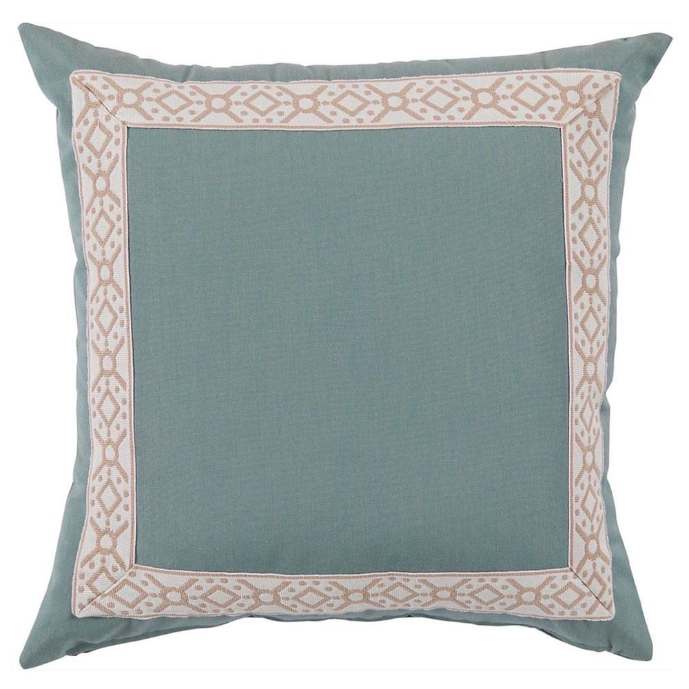 Perri Modern Global Trim Teal Outdoor Pillow - 22x22
