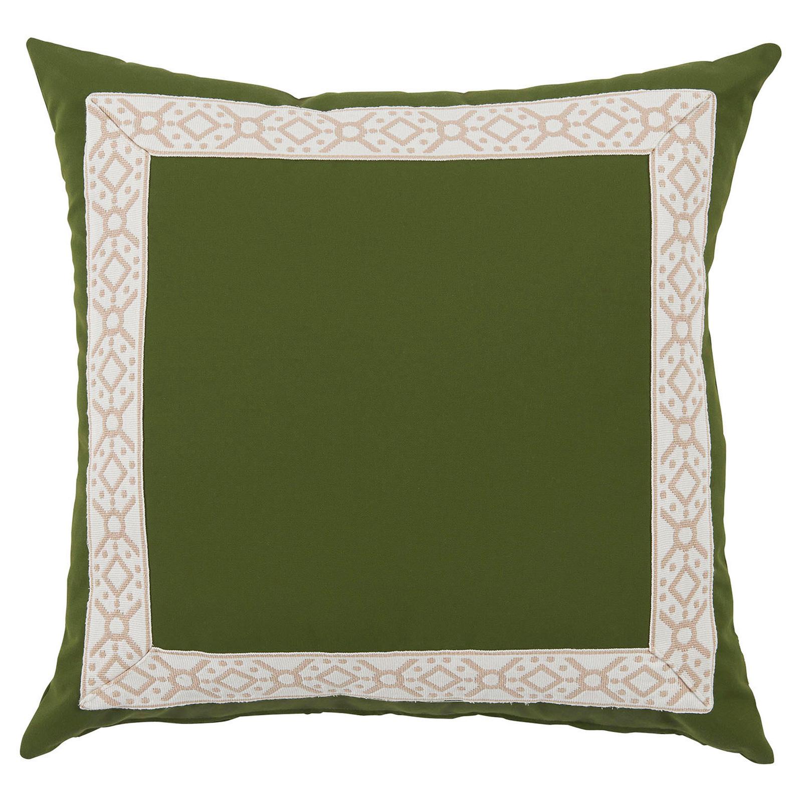 Perri Modern Global Trim Green Outdoor Pillow - 22x22
