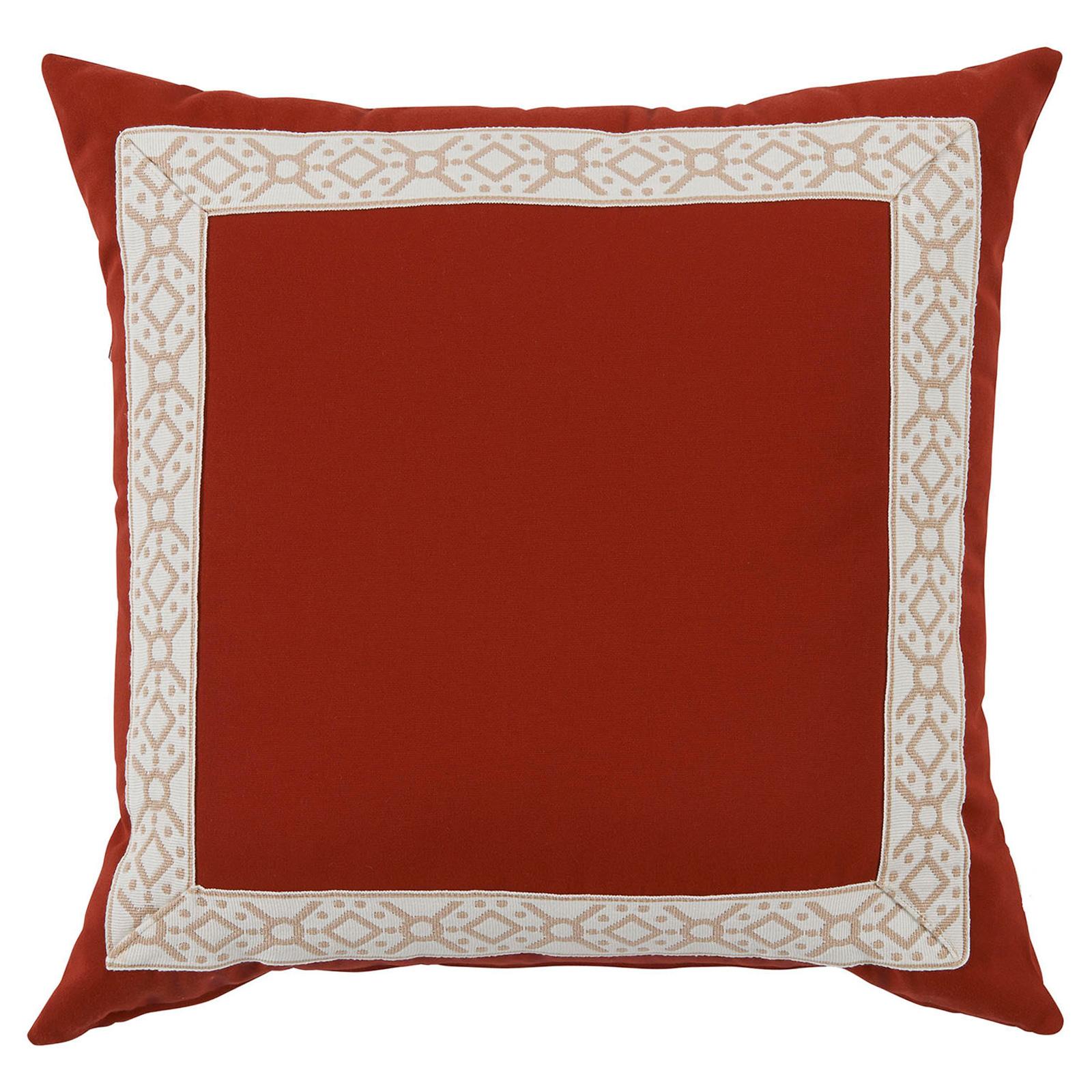 Perri Modern Global Trim Red Outdoor Pillow - 22x22